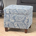 HomePop Cole Classics Square Storage Ottoman Wood Legs