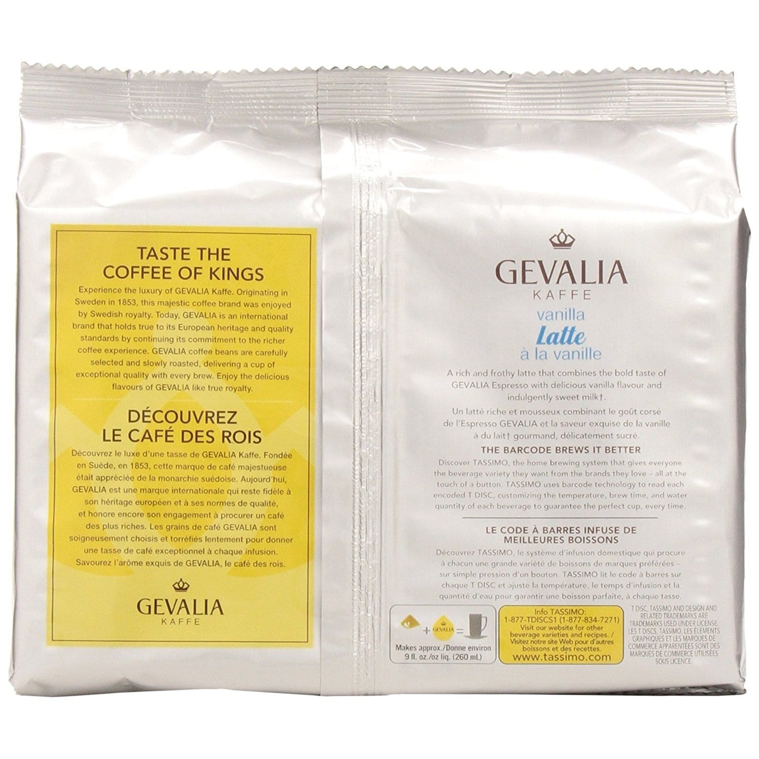 Gevalia Vanilla Latte T-Discs for Tassimo Hot Beverage System