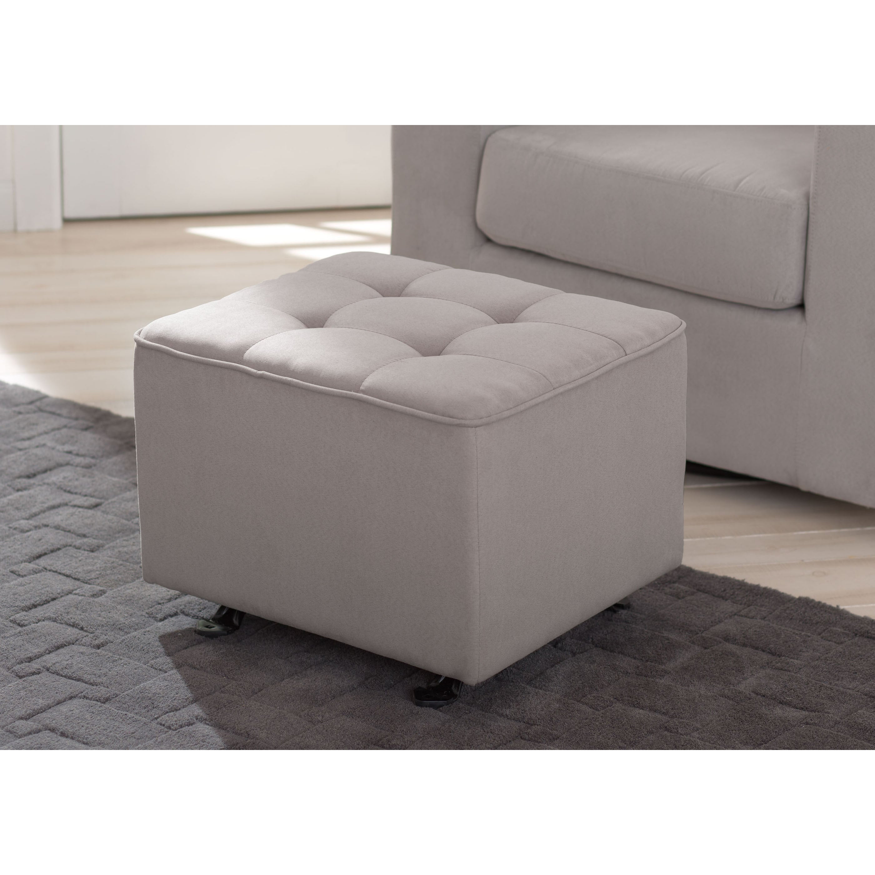 Dove Grey Delta Children Nursery Tufted Gliding Ottoman Free Shipping Today 14221041