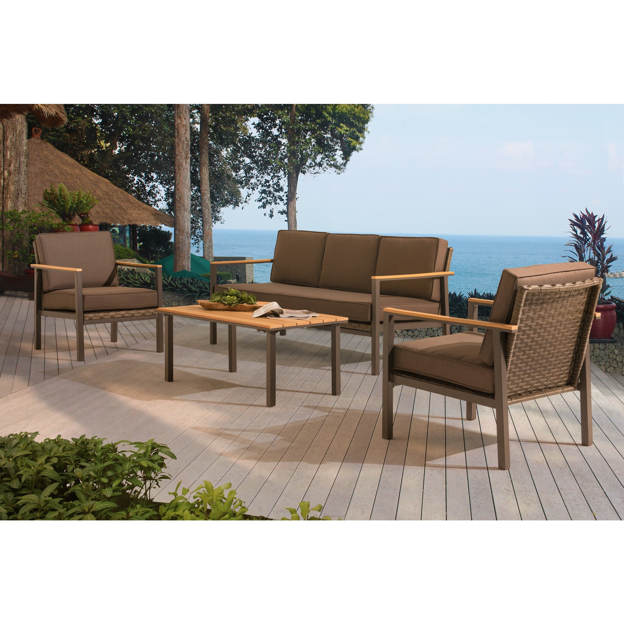 Shop Sunjoy Steel and PE Rattan Vail Chat Set - Free Shipping Today ...