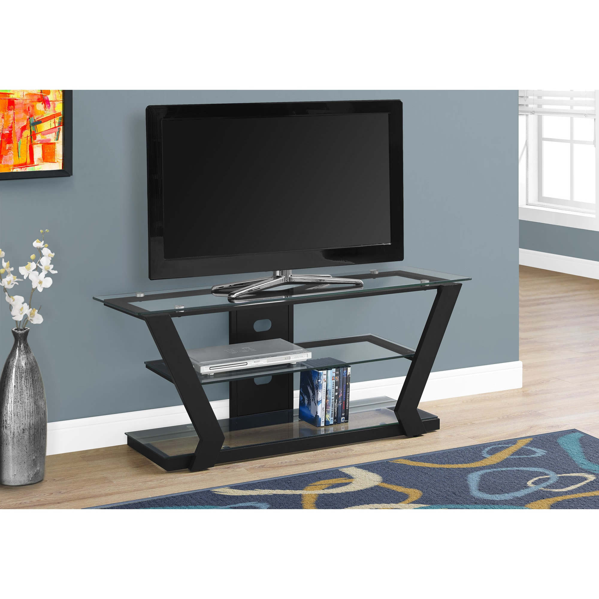Shop Tv Stand 48 L Black Metal With Tempered Glass Free