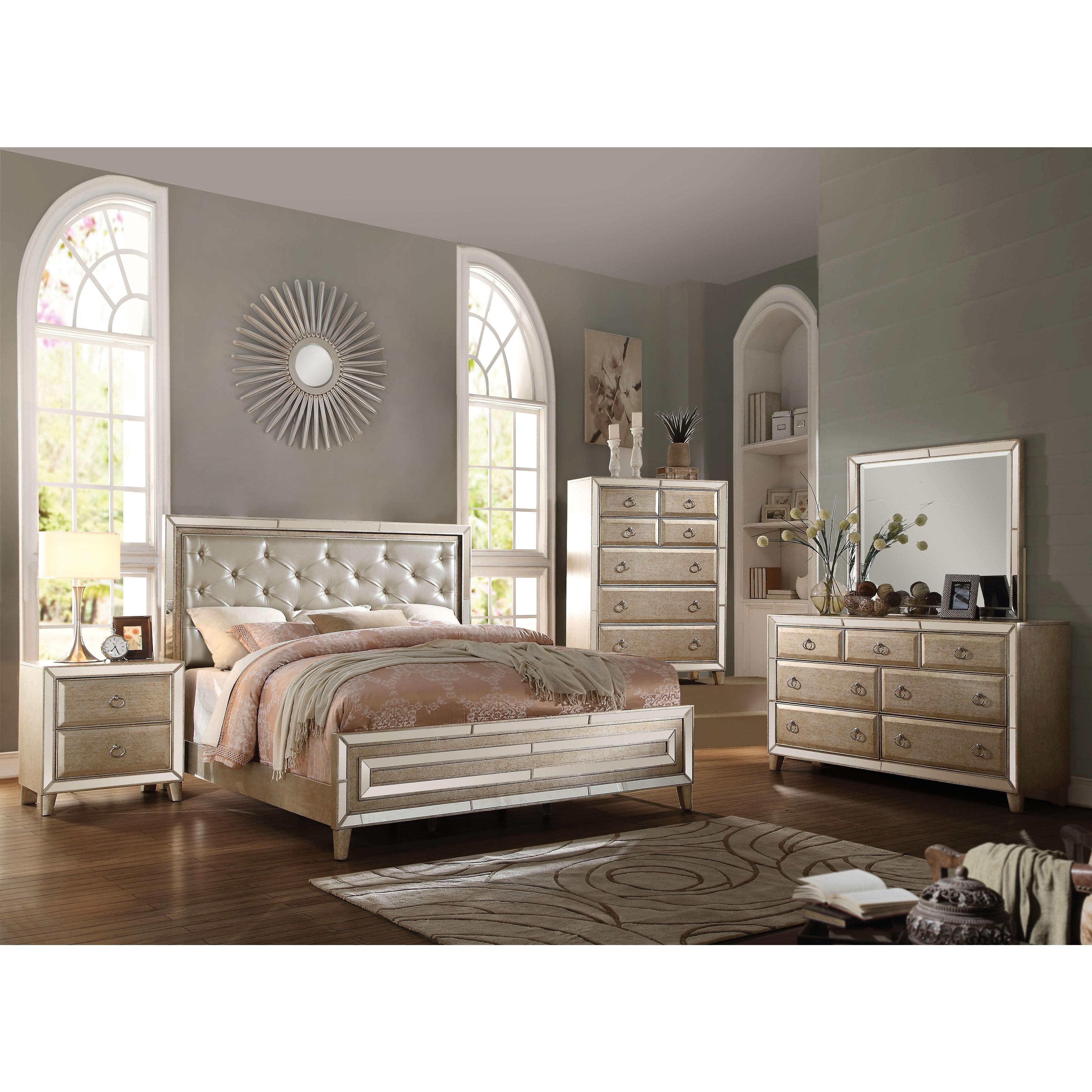 acme furniture bedroom sets. Acme Furniture Voeville 4 Piece Bedroom Set  Matt Gold PU Antique Free Shipping Today Overstock com 20813743