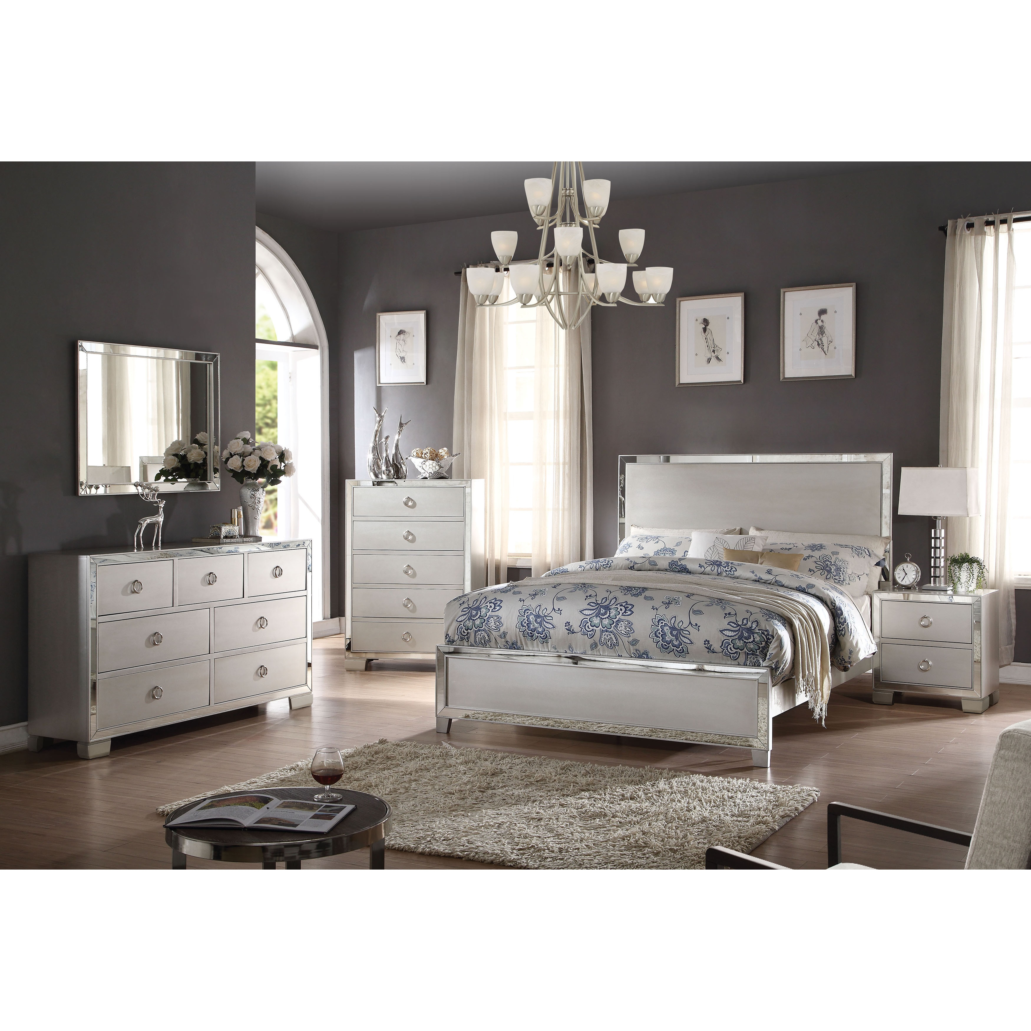 Acme Furniture Voeville II 4 Piece Bedroom Set Platinum Free