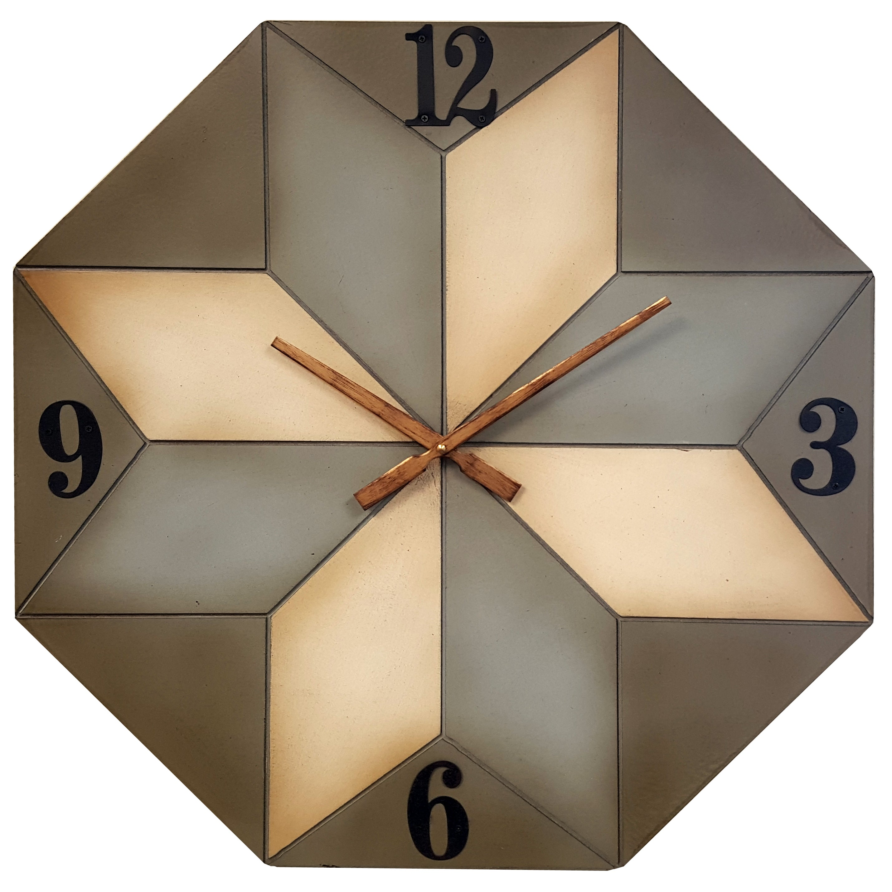 Infinity Instruments 23.75 inch Patchwork Octagon Wall Clock ...