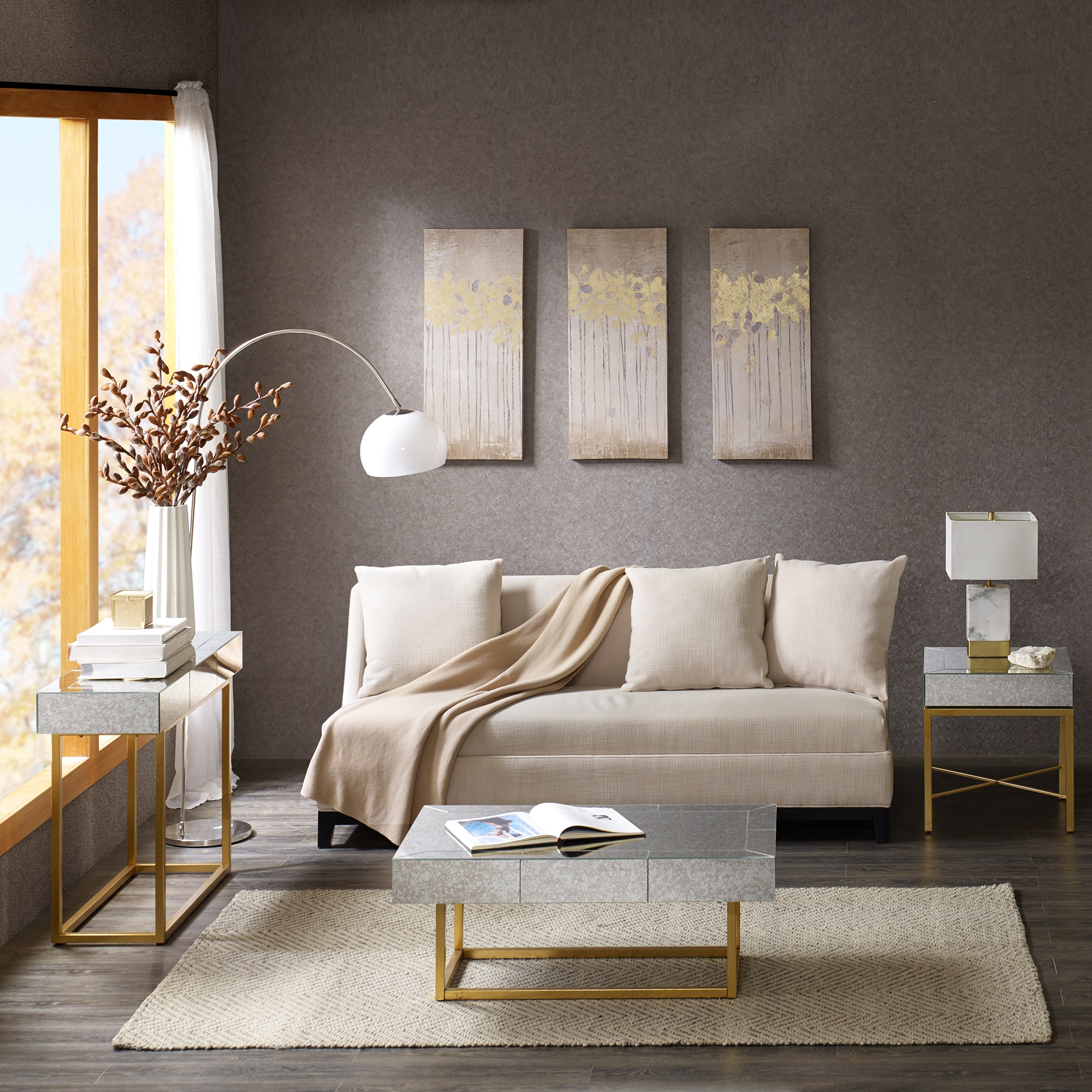 Madison Park Glam Willa Mirror Gold Coffee Table Free Shipping