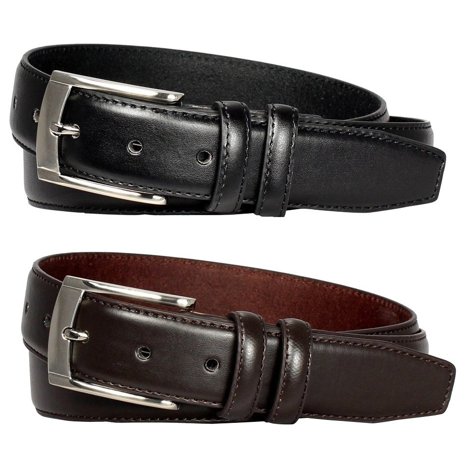 Shop E.M.P Men s Black and Brown Leather Dress Belts (Set of 2) - On ... ca5a41df6cca