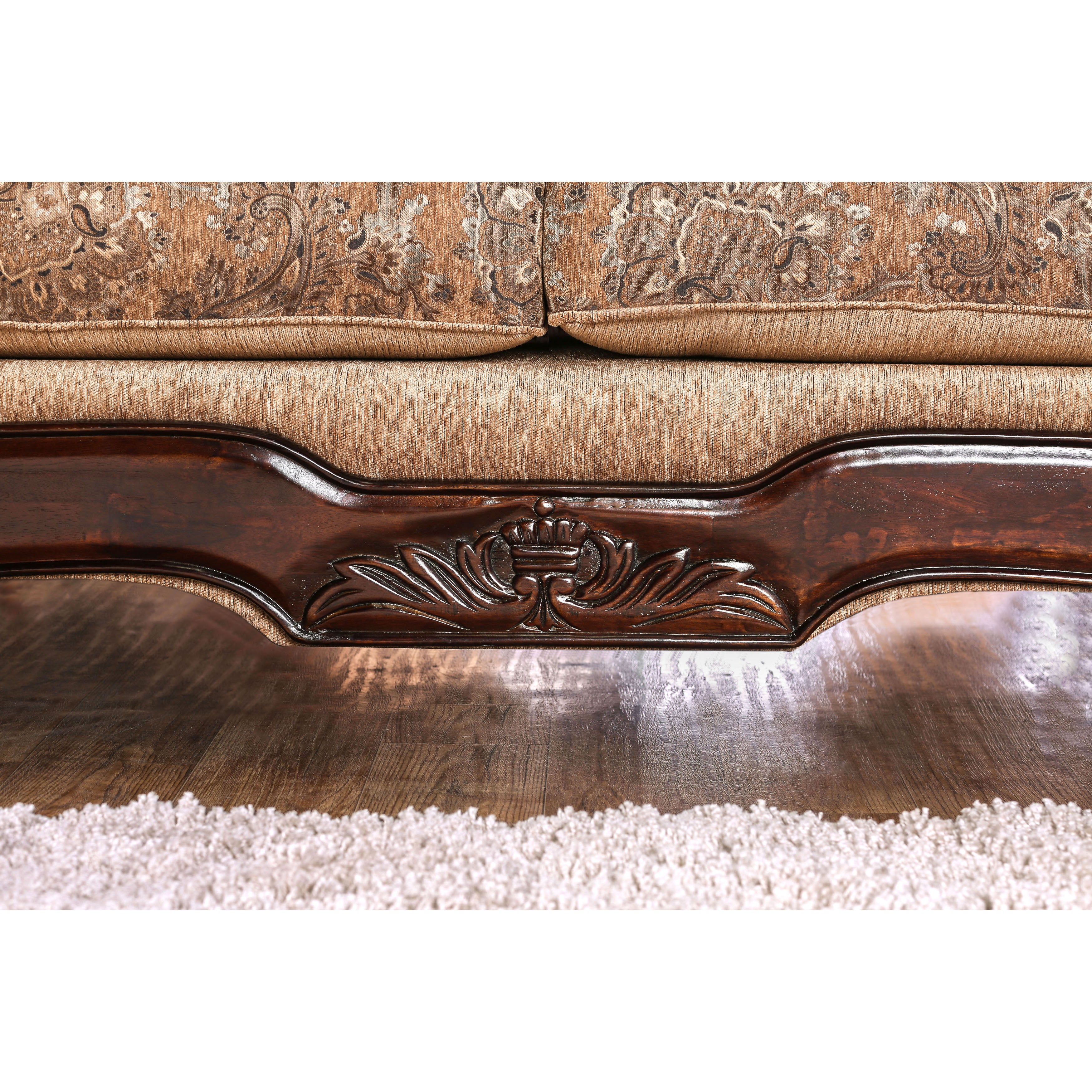 Ersa Traditional Wood Trim Chenille Fabric Gold Bronze Sofa By Furniture Of America On Free Shipping Today 14228775