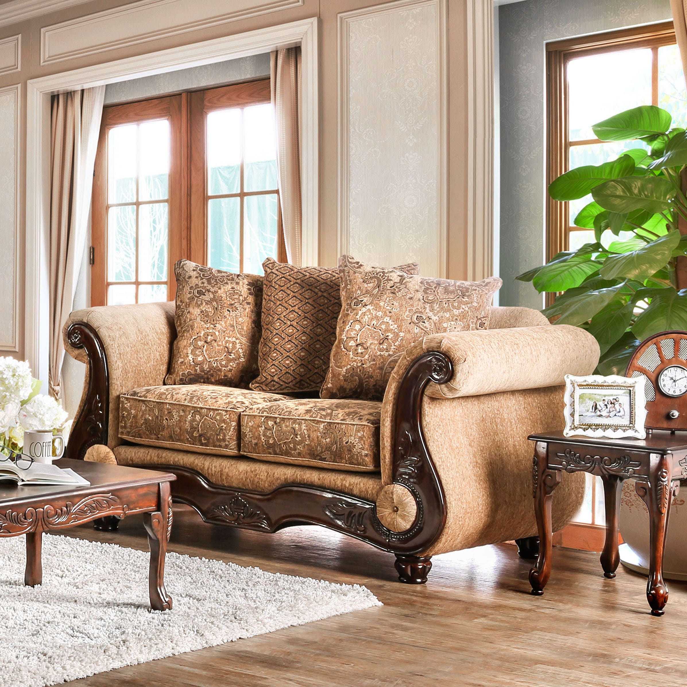 Ersa traditional wood trim chenille fabric gold bronze loveseat by furniture of america