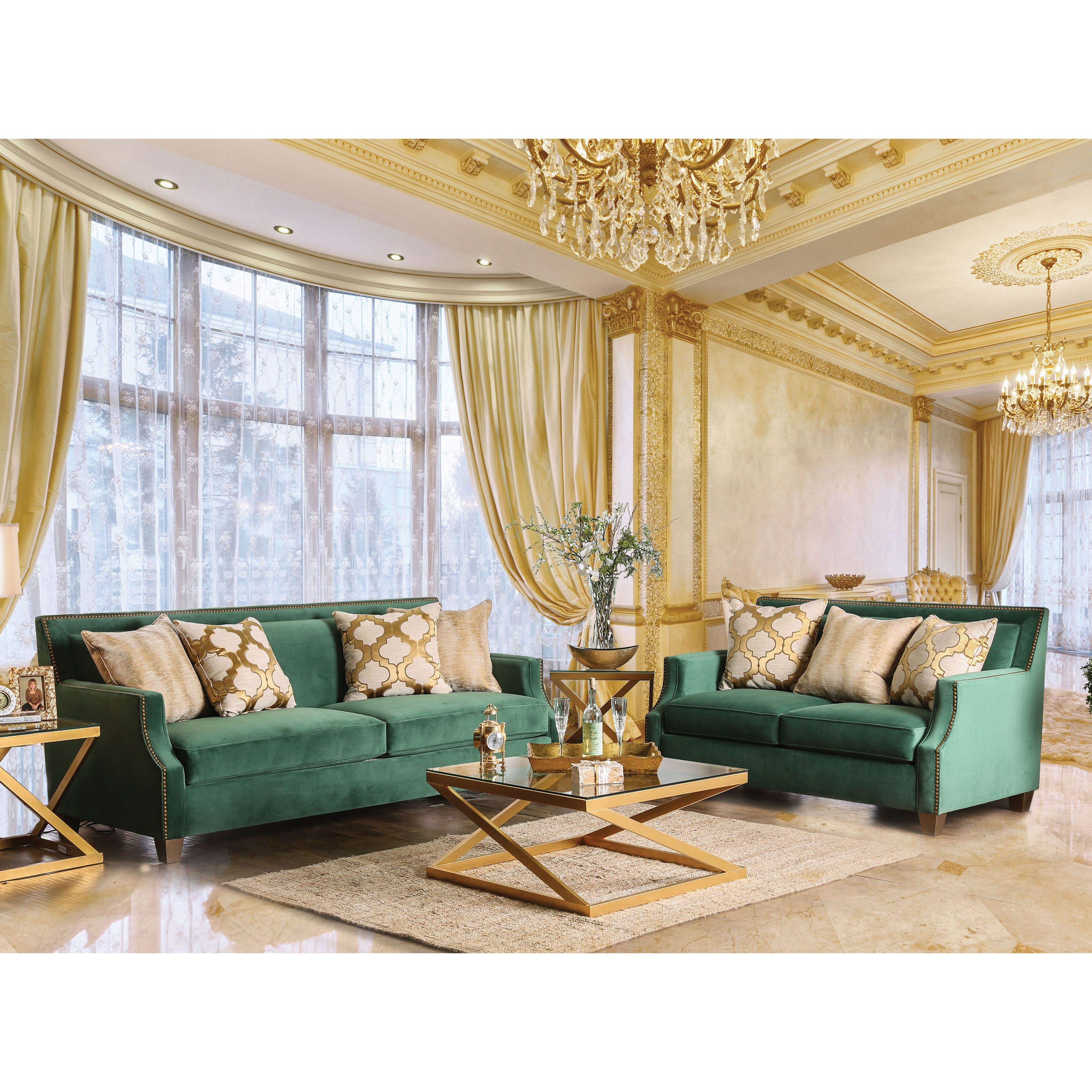 Shop Katrina Contemporary Nailhead Microfiber Emerald Green Sofa By  Furniture Of America   On Sale   Free Shipping Today   Overstock.com    14229039