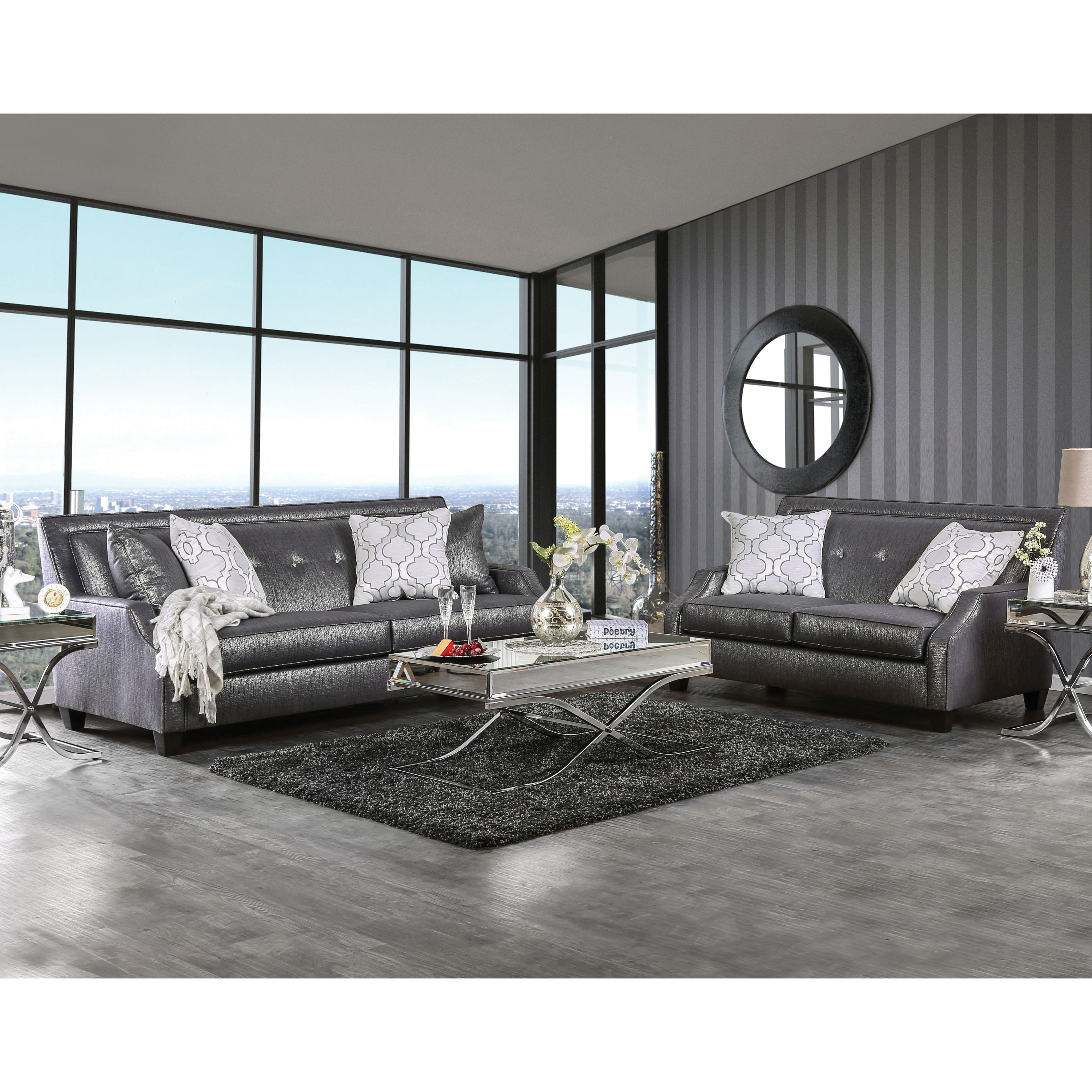 Shop Lorana Glam Crystal Tufted Shined Black Fabric Sofa By Furniture Of  America   Free Shipping Today   Overstock.com   14229074