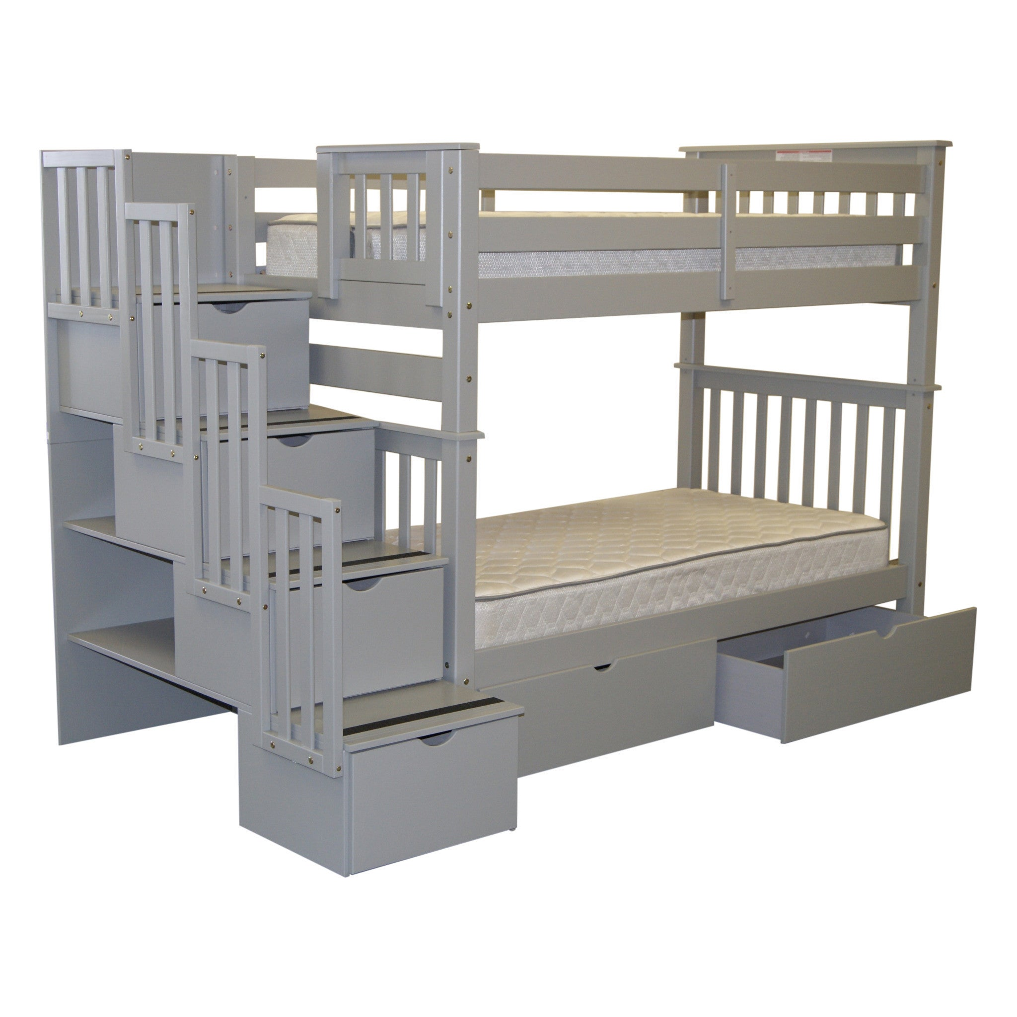 Shop Bedz King Bunk Beds Twin Over Twin Stairway 4 Step 2 Bed