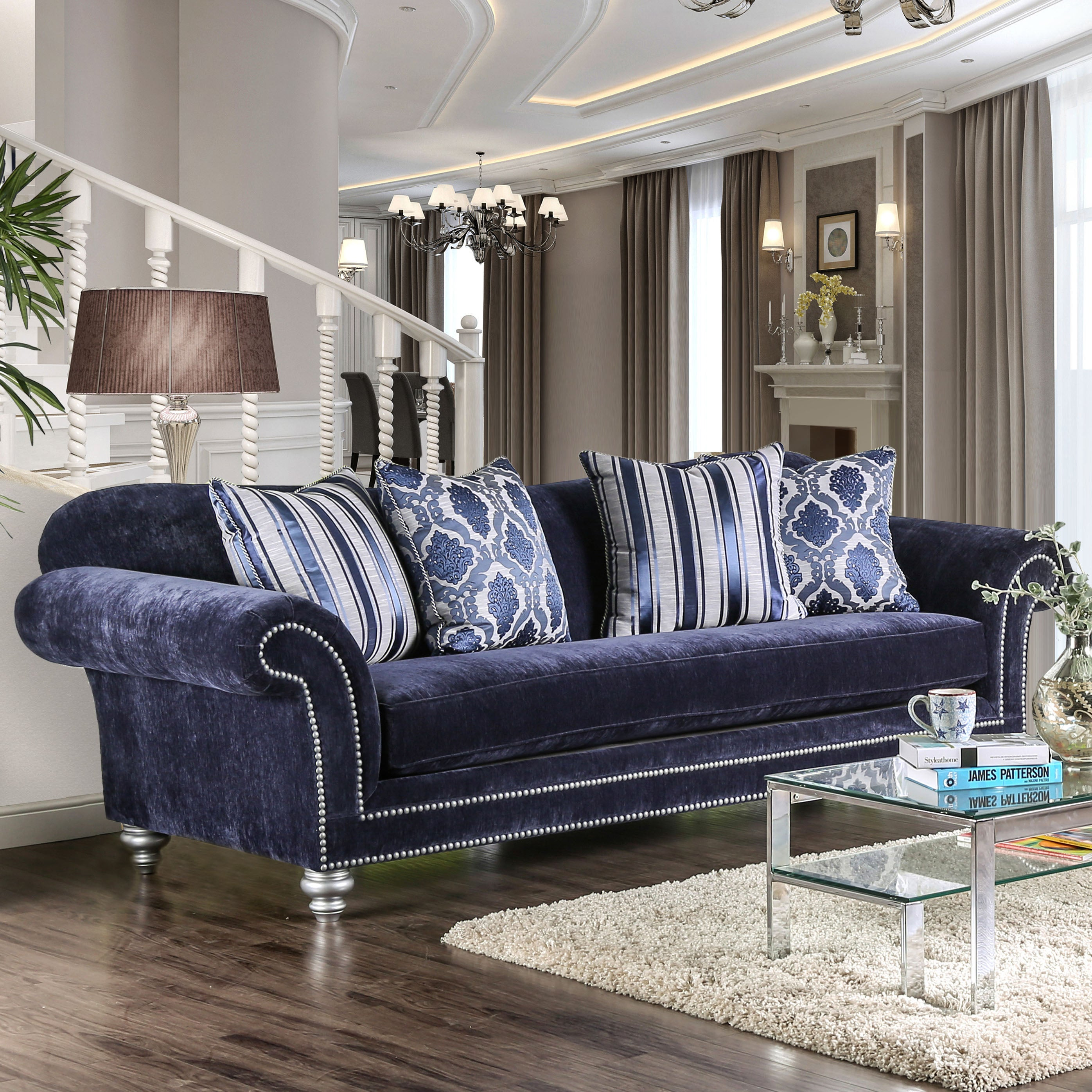 Charmant Shop Alema Glam Navy Microfiber Sofa By Furniture Of America   On Sale    Free Shipping Today   Overstock.com   14229454