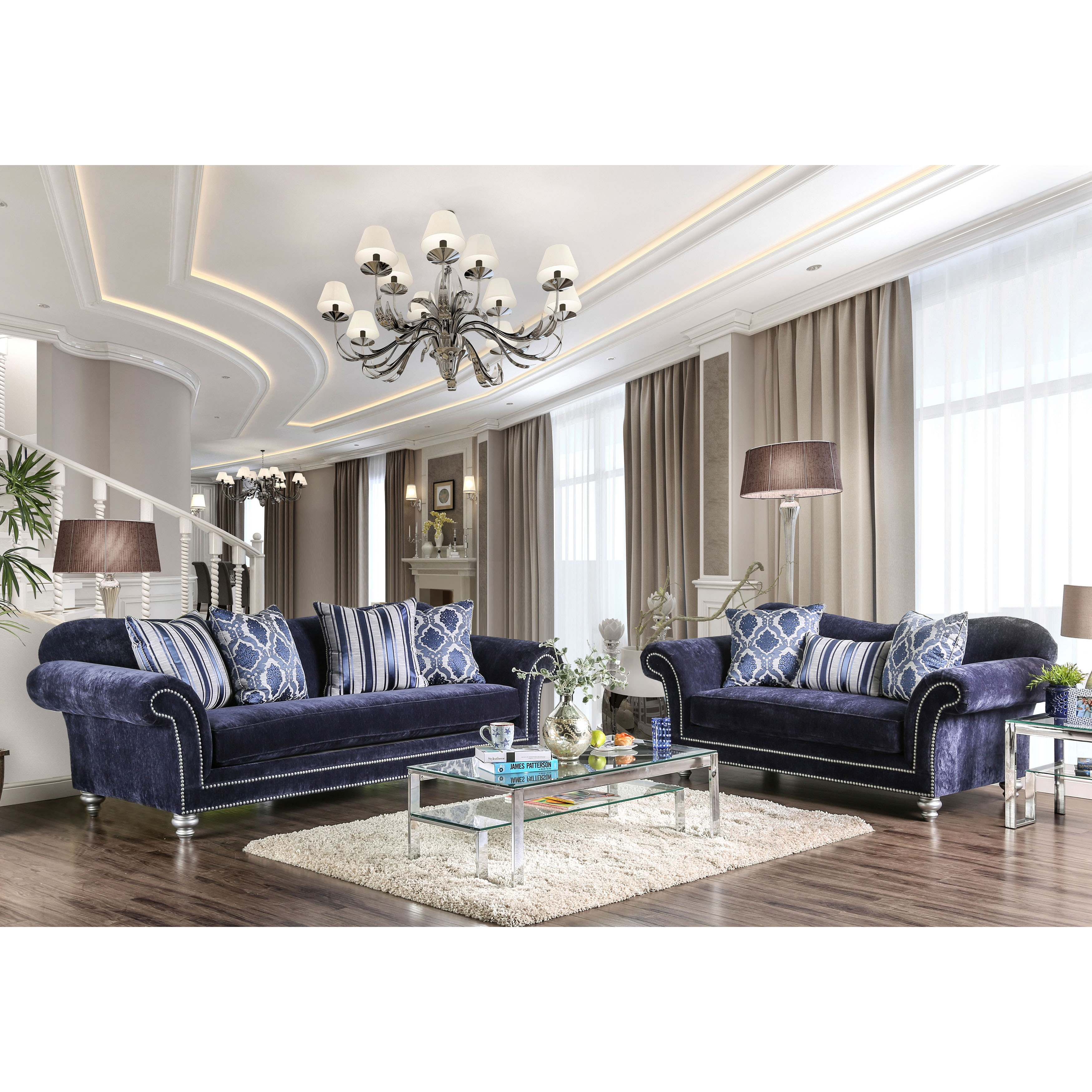 Alema Glam Navy Microfiber Sofa By Furniture Of America   Free Shipping  Today   Overstock   20820744