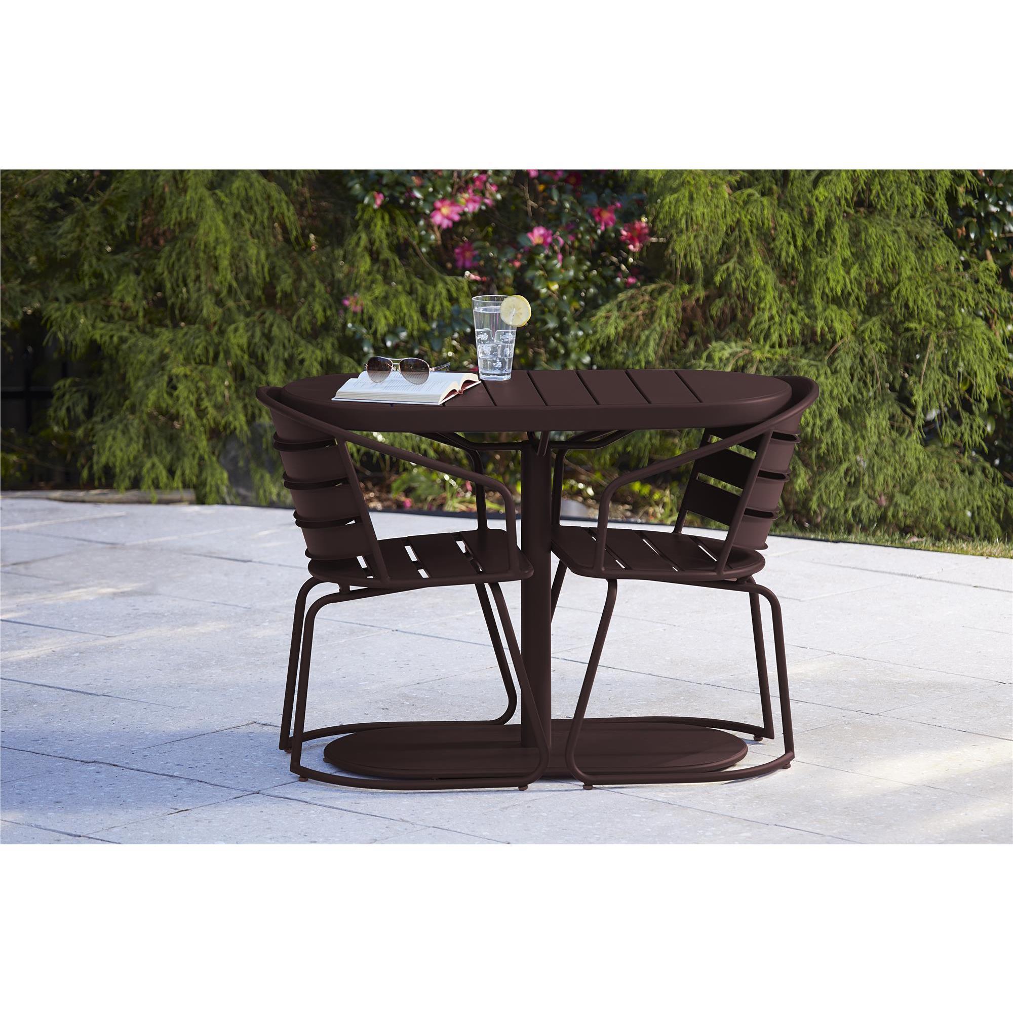 Cosco Outdoor Living 3 Piece Metro Retro Nesting Brown Bistro Steel Patio Furniture Set