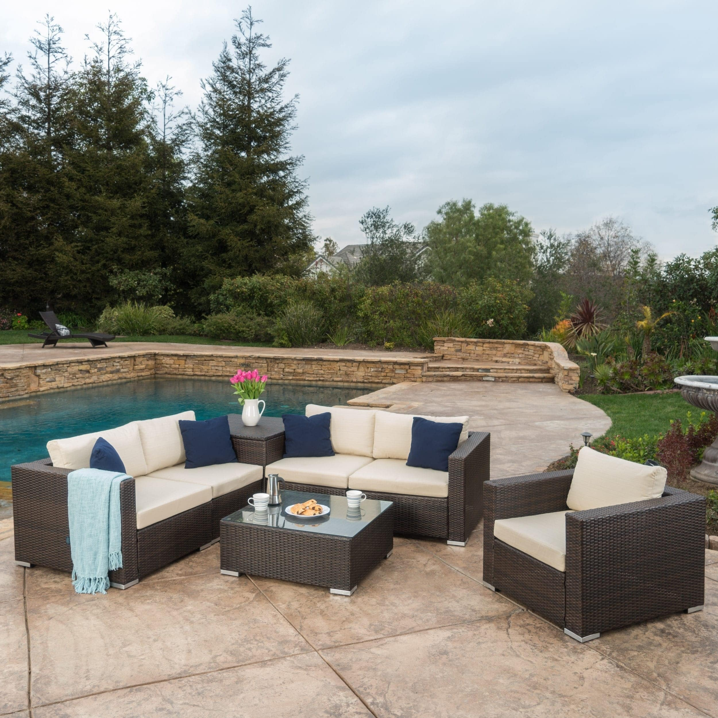 Shop Santa Rosa Outdoor 7 Piece Wicker Sectional Sofa With Storage