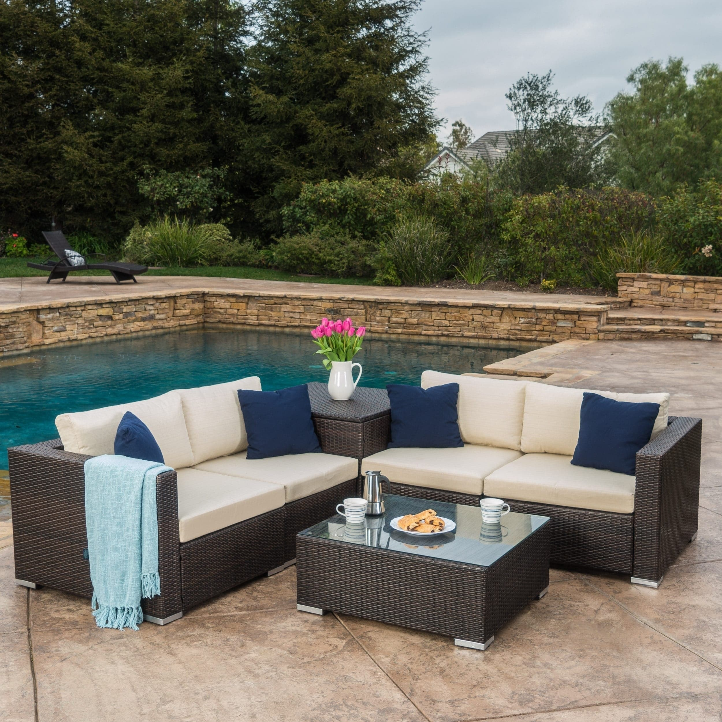 Shop Santa Rosa Outdoor 6 Piece Wicker Sectional Sofa With Storage
