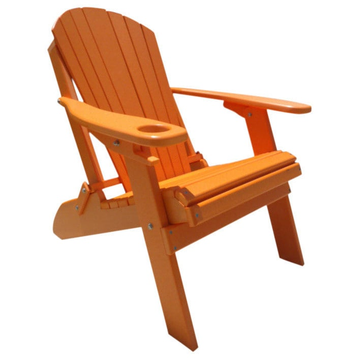 Shop Poly Lumber Wood Folding Adirondack Chair With Cup Holder   Free  Shipping Today   Overstock.com   14230307