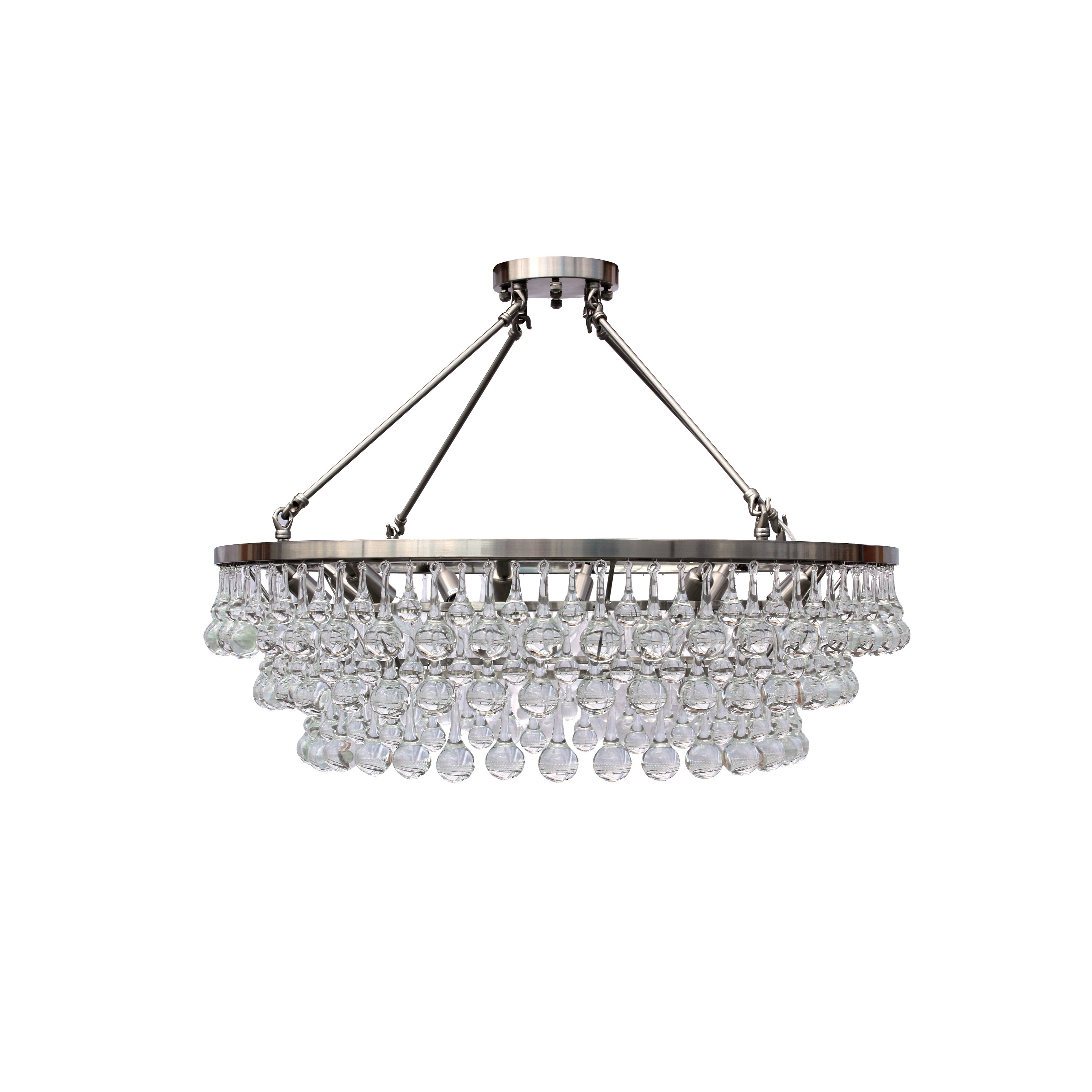 Celeste flush mount glass drop crystal chandelier brushed nickel celeste flush mount glass drop crystal chandelier brushed nickel free shipping today overstock 20821740 arubaitofo Gallery
