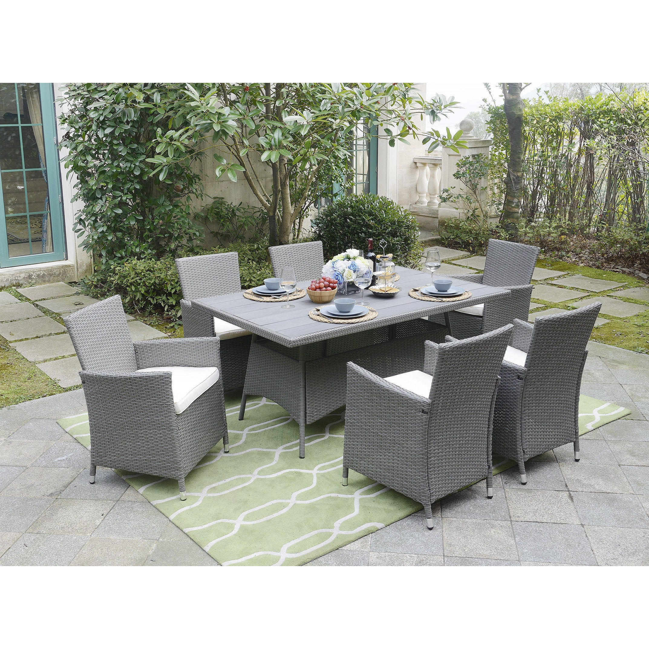 Shop DG Casa Aventura Beige Polywood Steel Table And 6 Chairs Dining Set    On Sale   Free Shipping Today   Overstock.com   14230793
