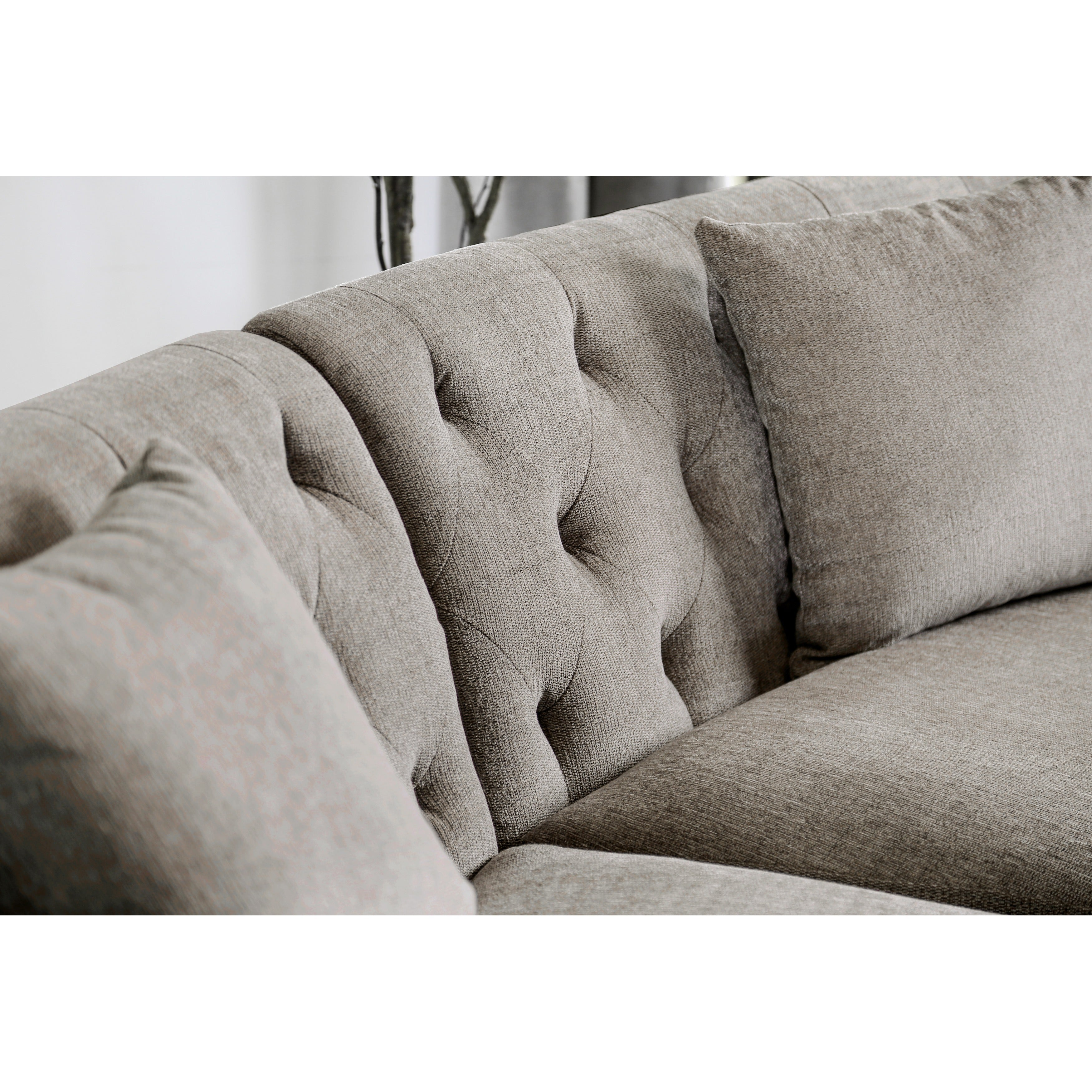 aretha contemporary grey tufted rounded sectional sofa by furniture ofamerica  free shipping today  overstockcom  . aretha contemporary grey tufted rounded sectional sofa by