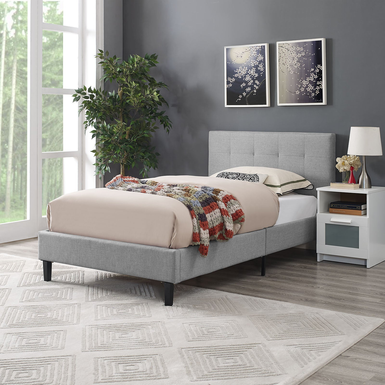 Modway Linnea Kid S Twin Grey Off White Polyester Upholstered Platform Bed Frame