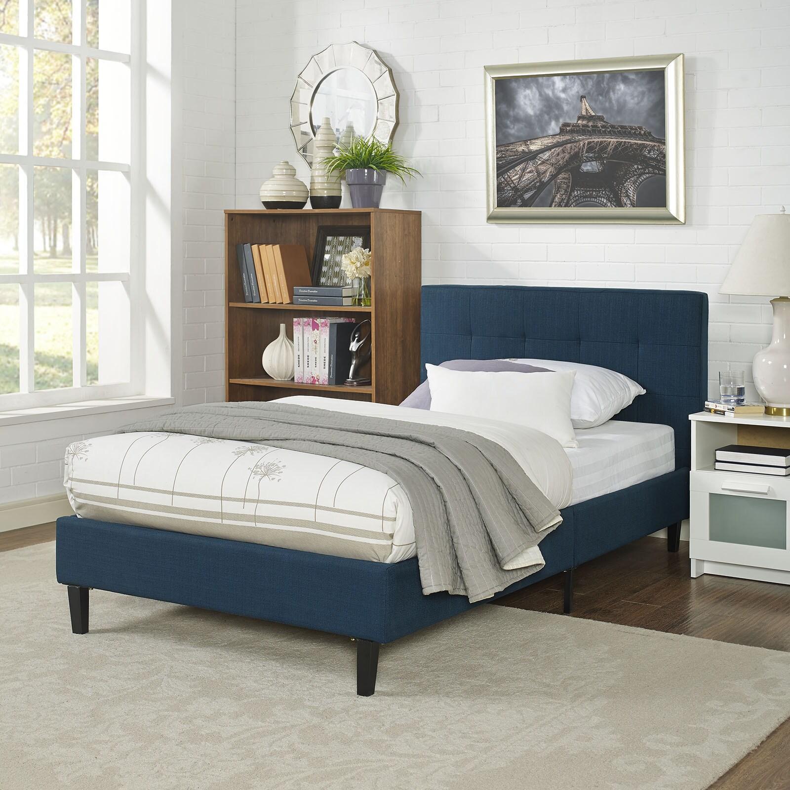 Modway Linnea Kids Greyoff White Polyester Upholstered Platform Bed Frame