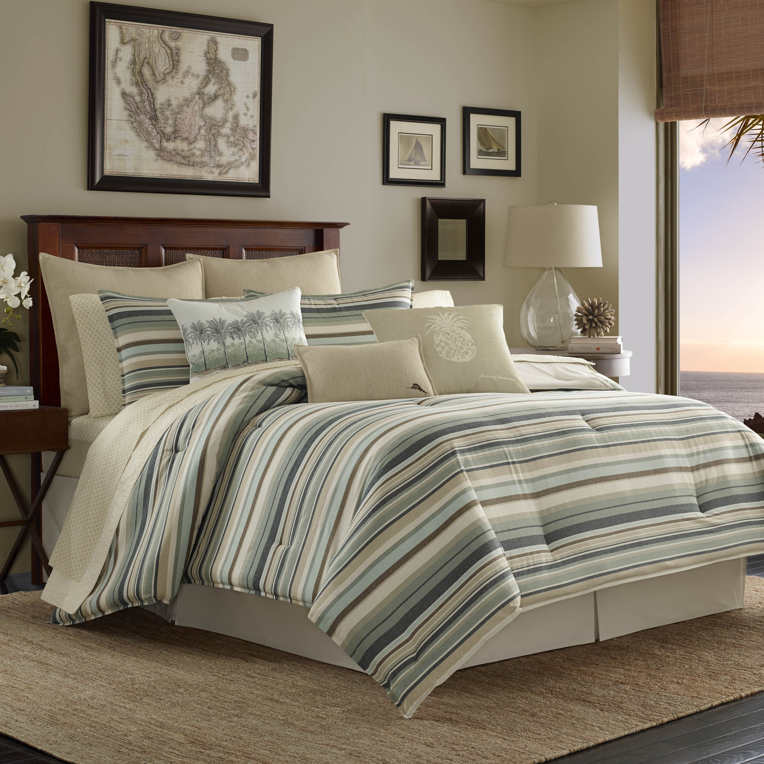 shop tommy bahama canvas stripe duvet cover set on sale free