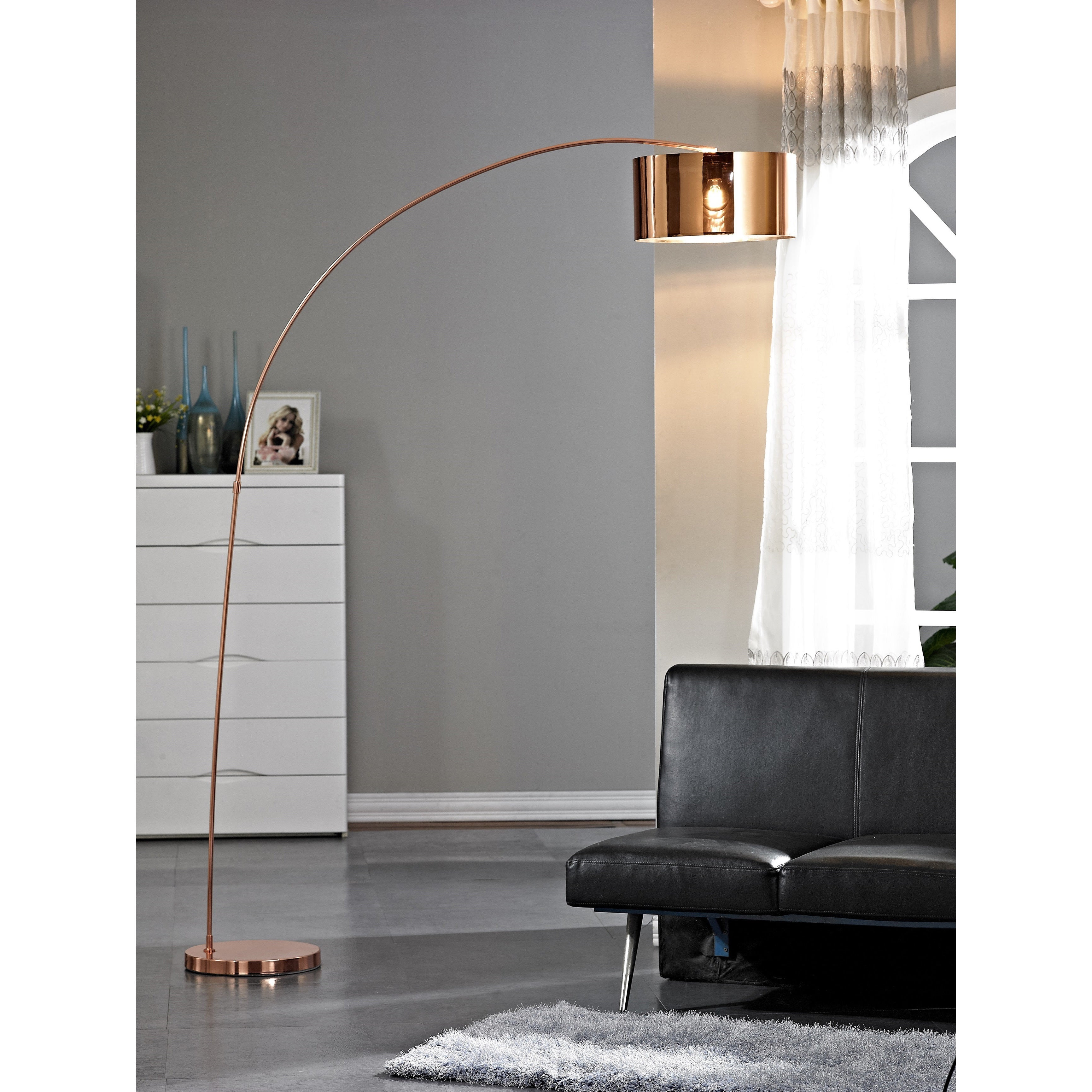Artiva Usa Adelina 81 Inch Rose Copper Led Arched Floor Lamp
