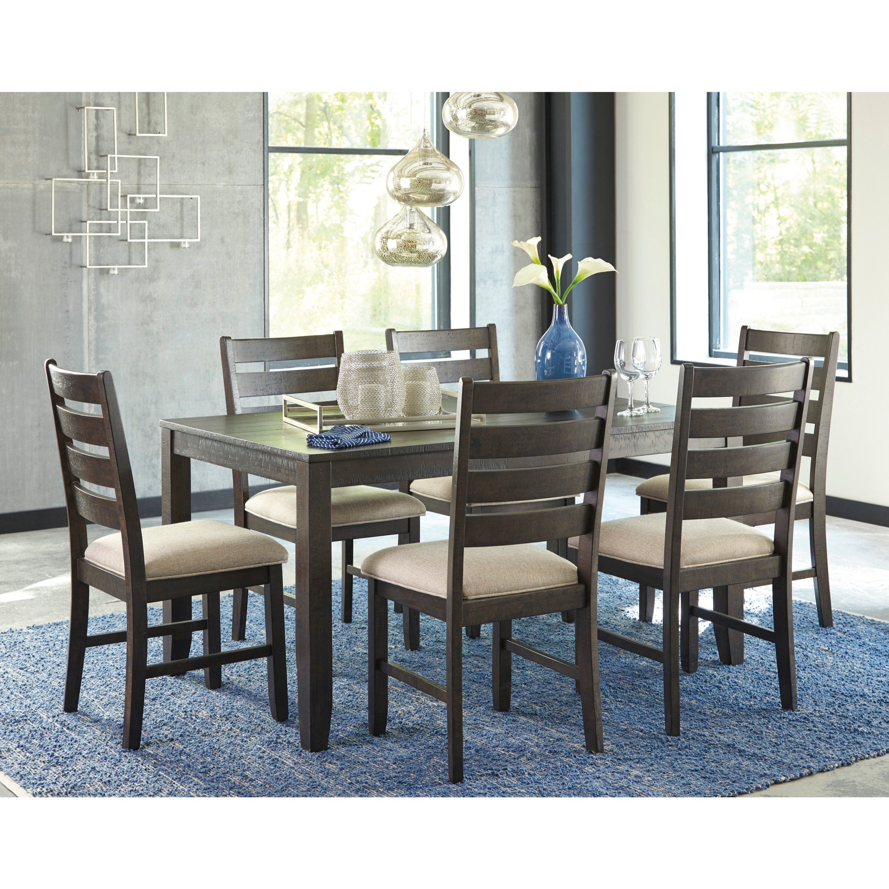 Signature Design By Ashley Rokane Brown 7 Piece Dining Room Table Set