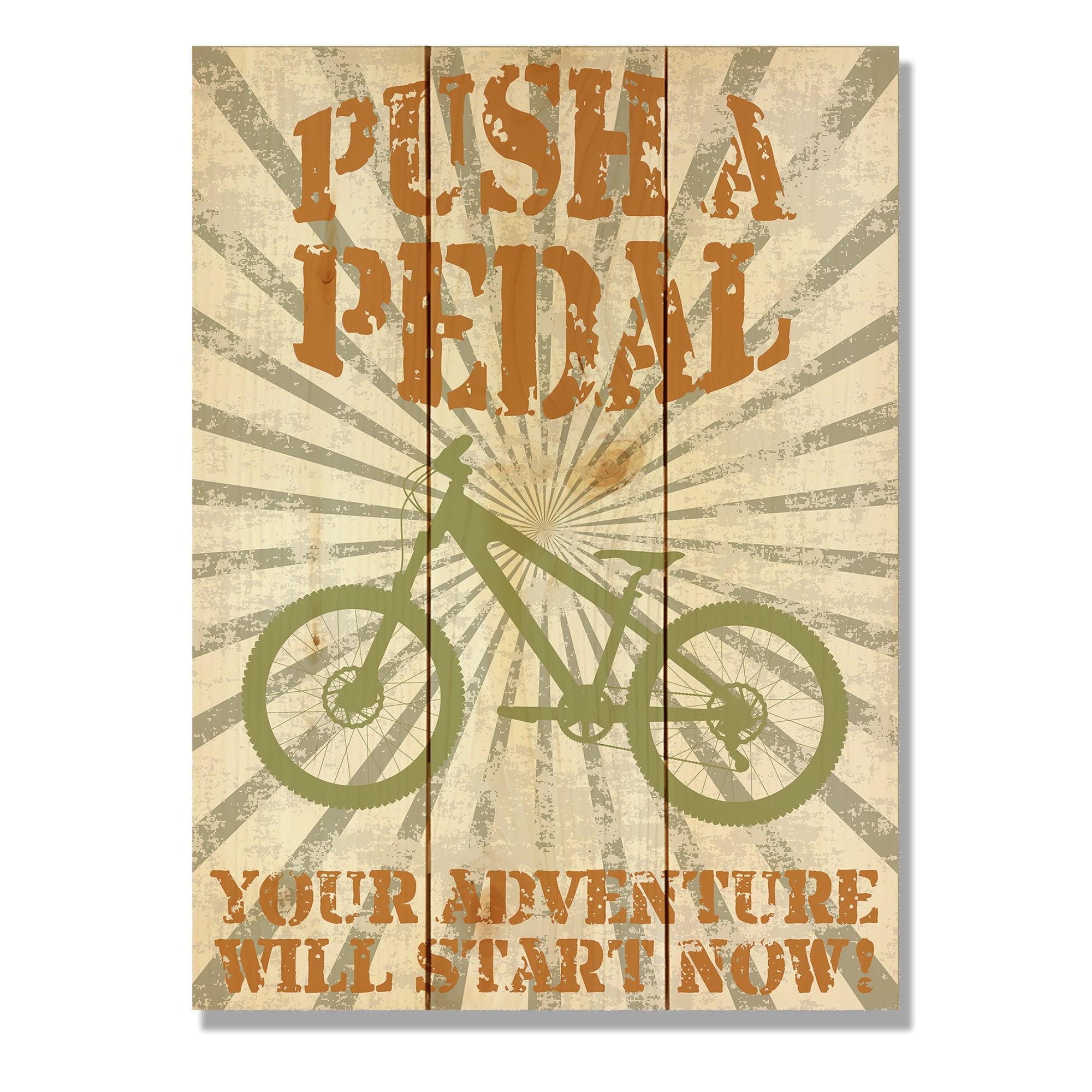 Shop Push a Pedal 11x15 Indoor/Outdoor Full Color Cedar Wall Art ...