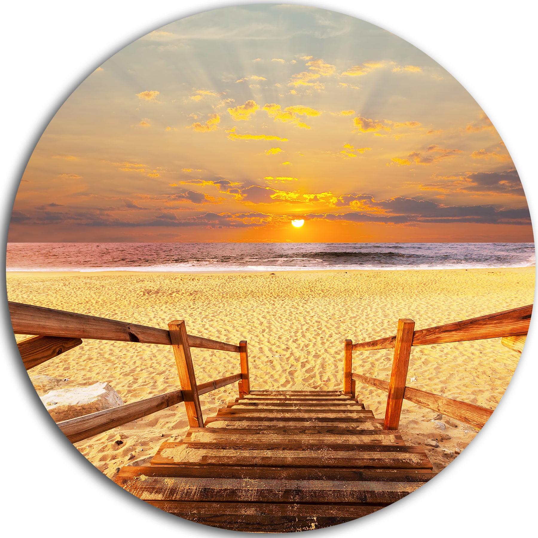 Designart \'Brown Wooden Boardwalk into Beach\' Sea Bridge Large Disc ...