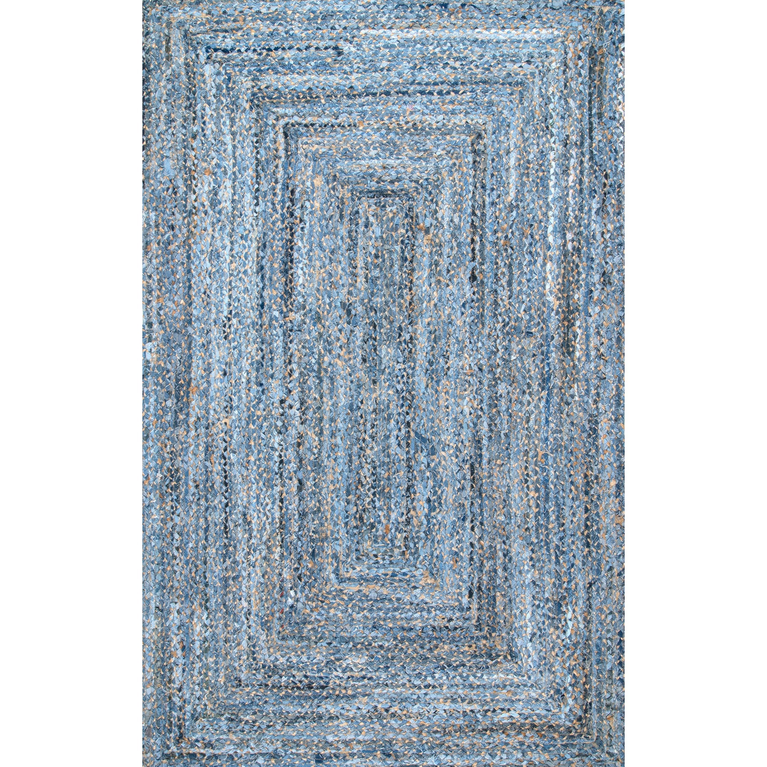 Nuloom Handmade Braided Blue Natural Fiber Jute And Denim Rug 7 6 X 9 Free Shipping Today Com 20839249