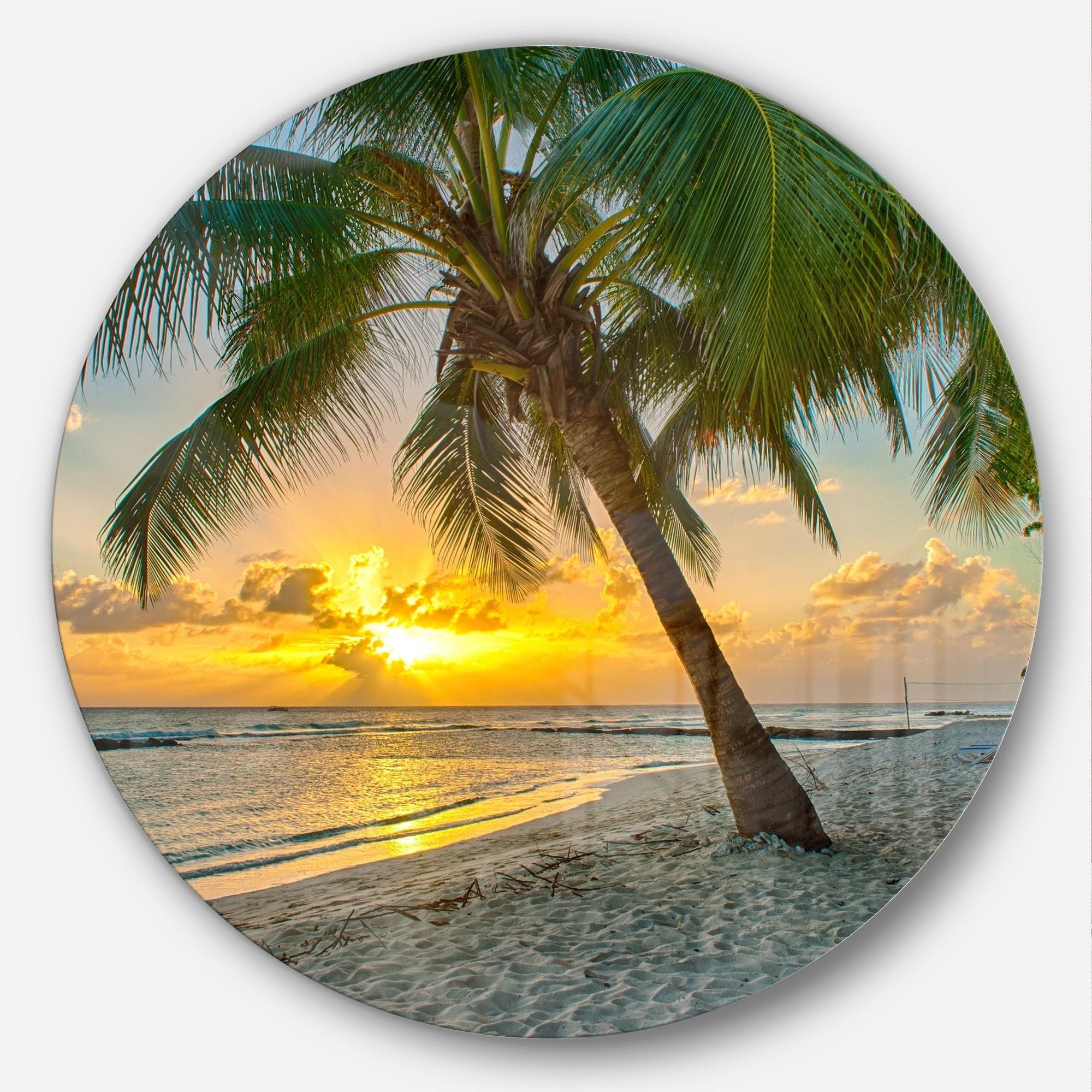 3e294e506b Shop Designart 'Beach in Caribbean Island of Barbados' Modern Seascape Disc  Metal Artwork - On Sale - Free Shipping Today - Overstock - 14250590