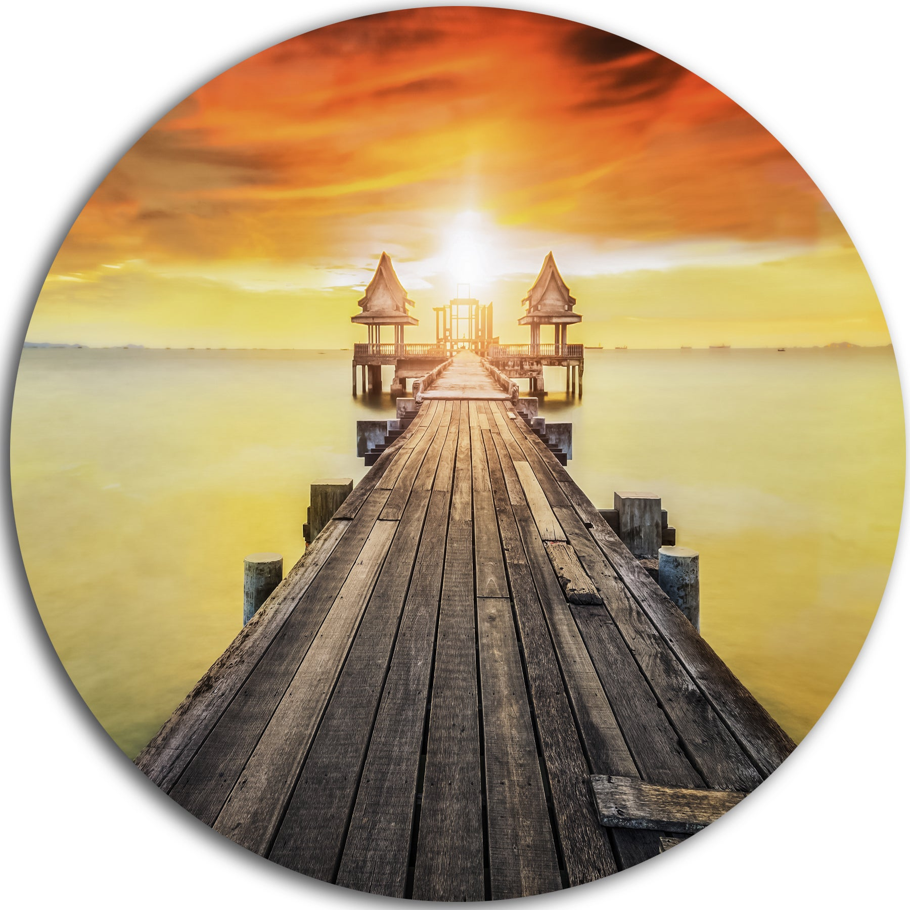 Shop Designart \'Huge Wooden Pier into Yellow Sun\' Sea Pier and ...