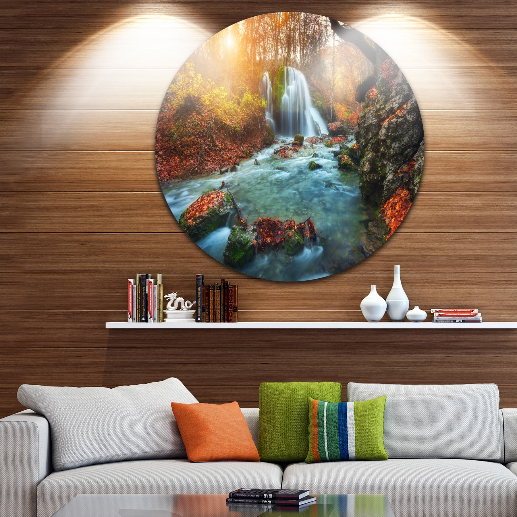 Designart fast flowing fall river in forest landscape photo large circle metal wall art