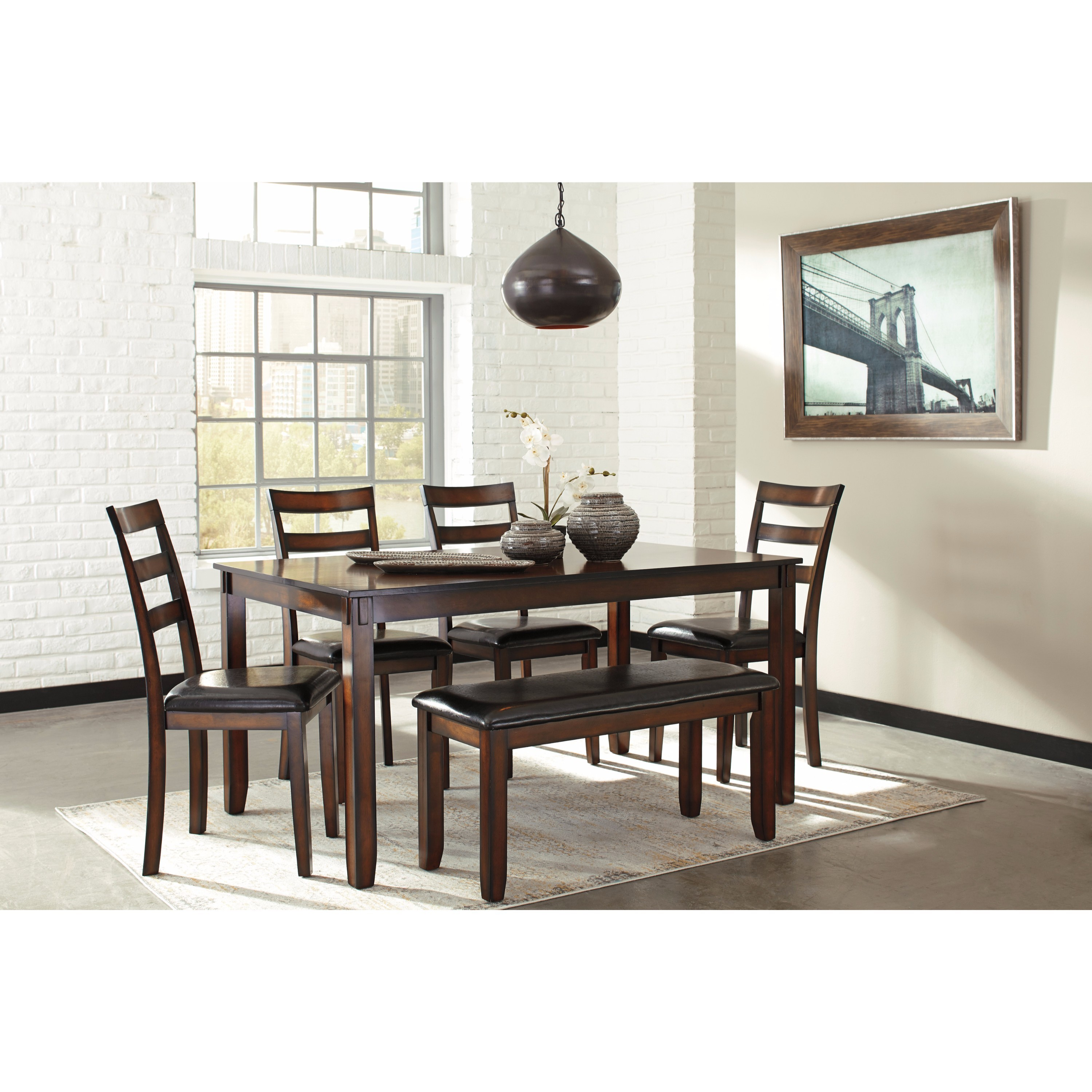 11a1bfb58f Shop Signature Design by Ashley Coviar Brown 6-Piece Dining Room Table Set  - Free Shipping Today - Overstock - 14253499