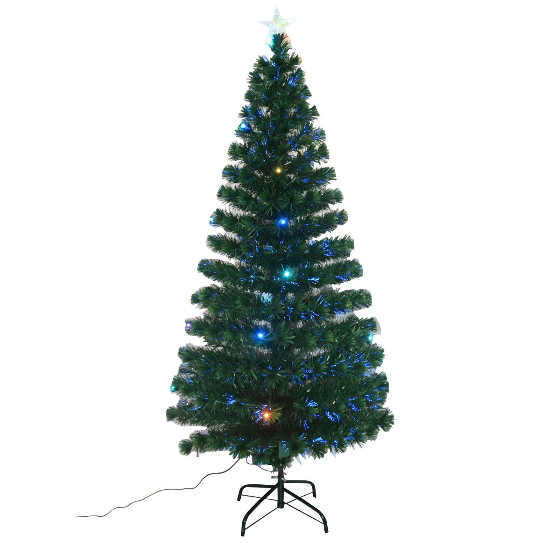 Shop HomCom 6\' Indoor Artificial Fiber Optic Light Up Holiday Xmas ...