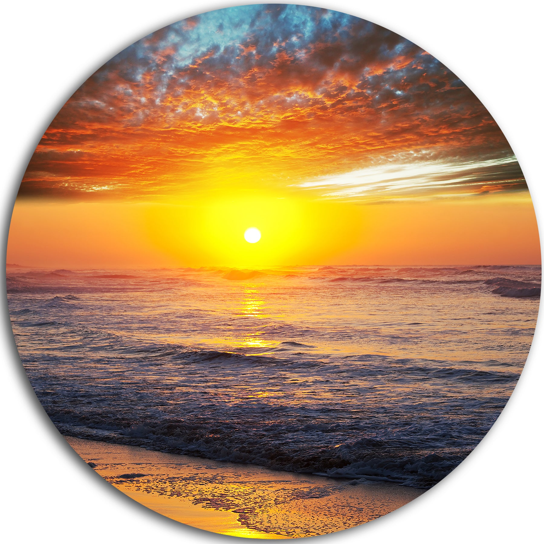 Designart \'Bright Sunset over Blue Waters\' Modern Beach Large Disc ...