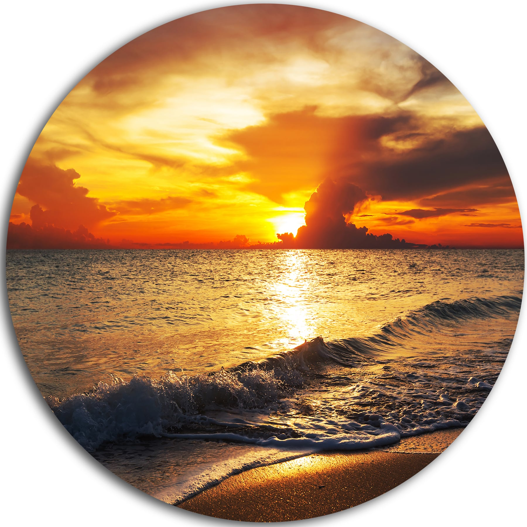 Designart \'Colorful Dramatic Sunset over Waves\' Modern Beach Disc ...
