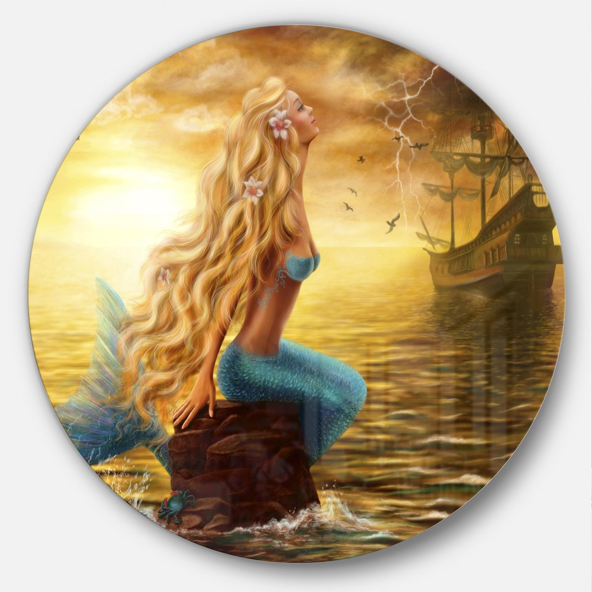 Shop Designart \'Sea Mermaid with Ghost Ship\' Seascape Digital Art ...