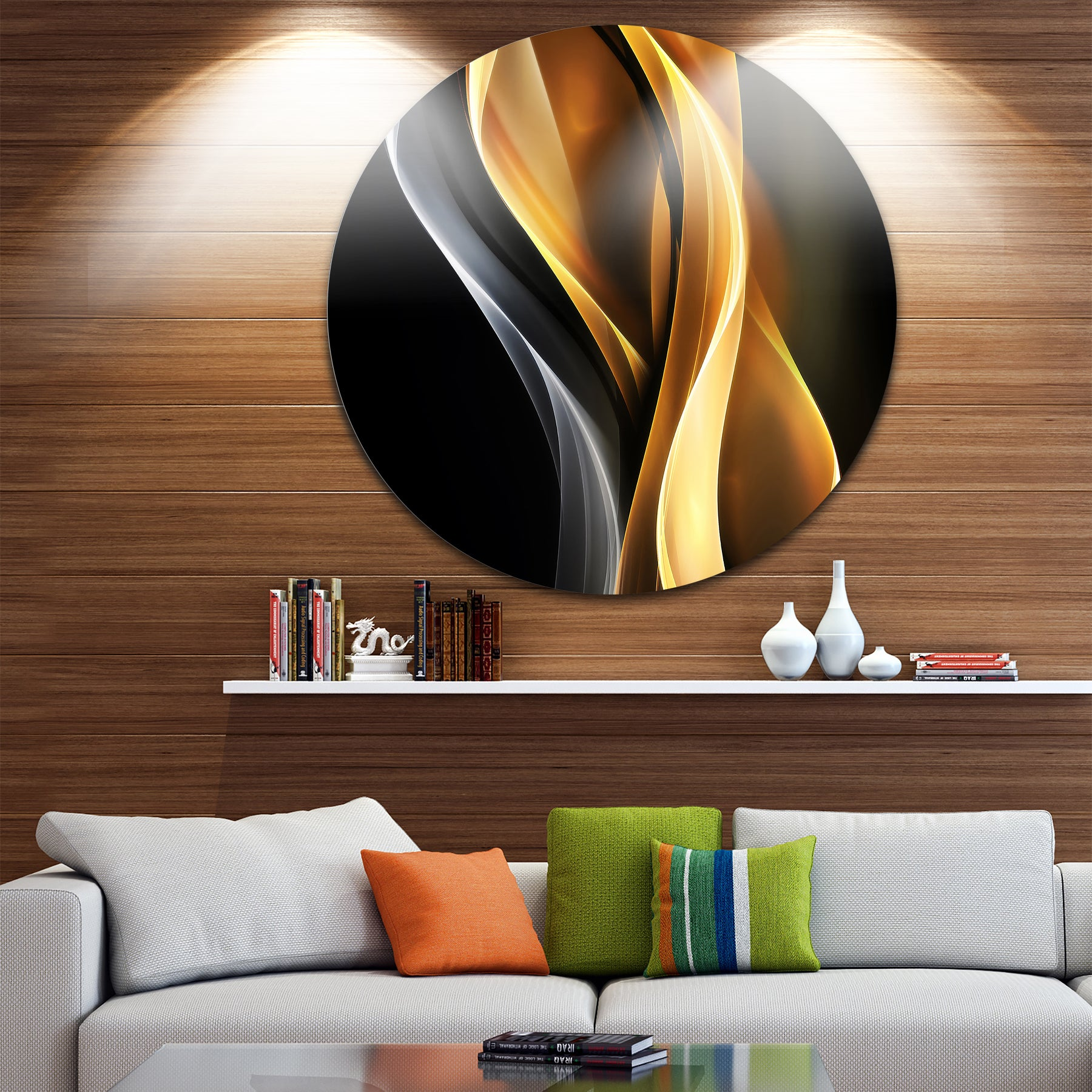 Designart Brown White Light Art Abstract Digital Large Disc Metal Wall Free Shipping Today 14254412