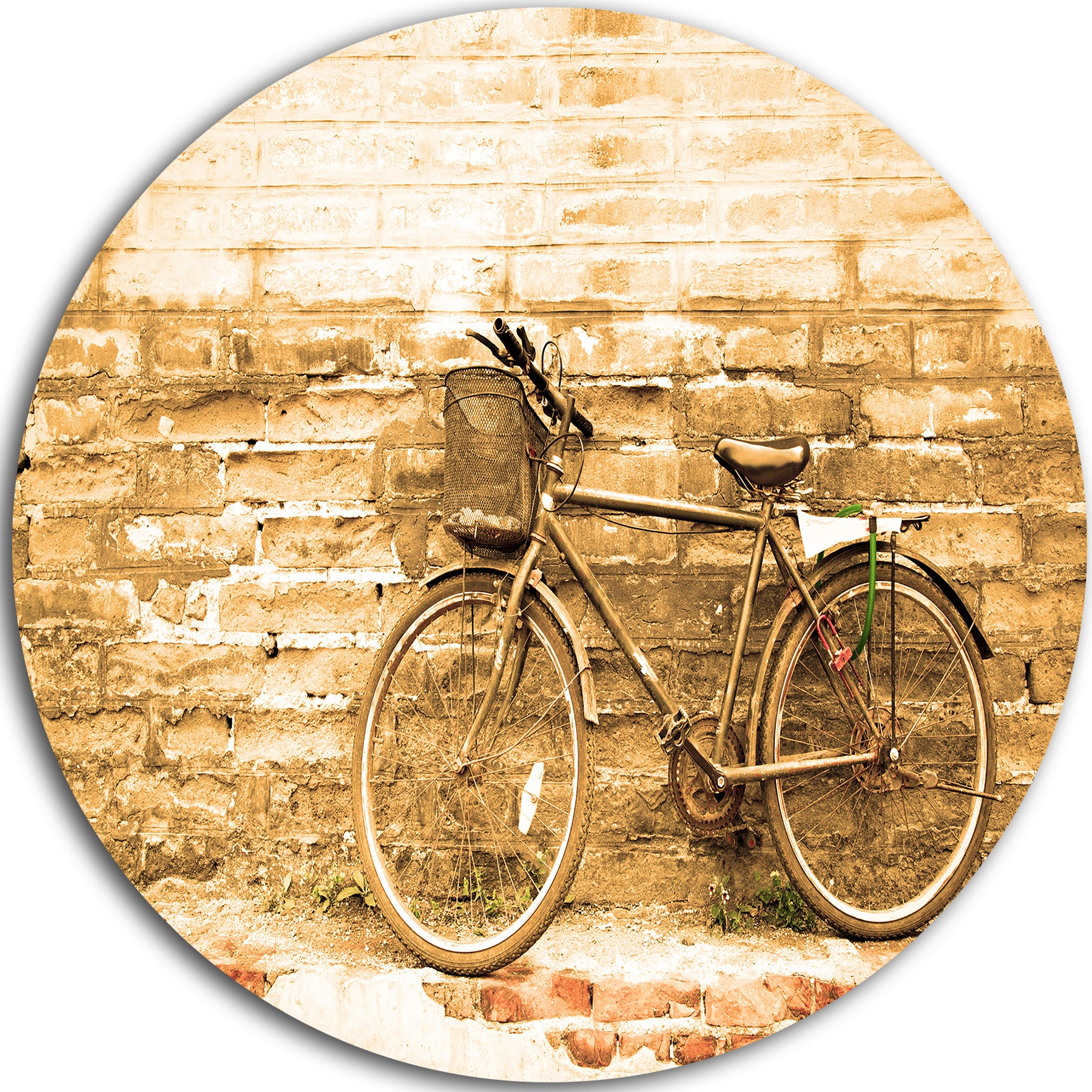 Shop Designart \'Vintage Bicycle against Brown Wall\' Landscape Disc ...