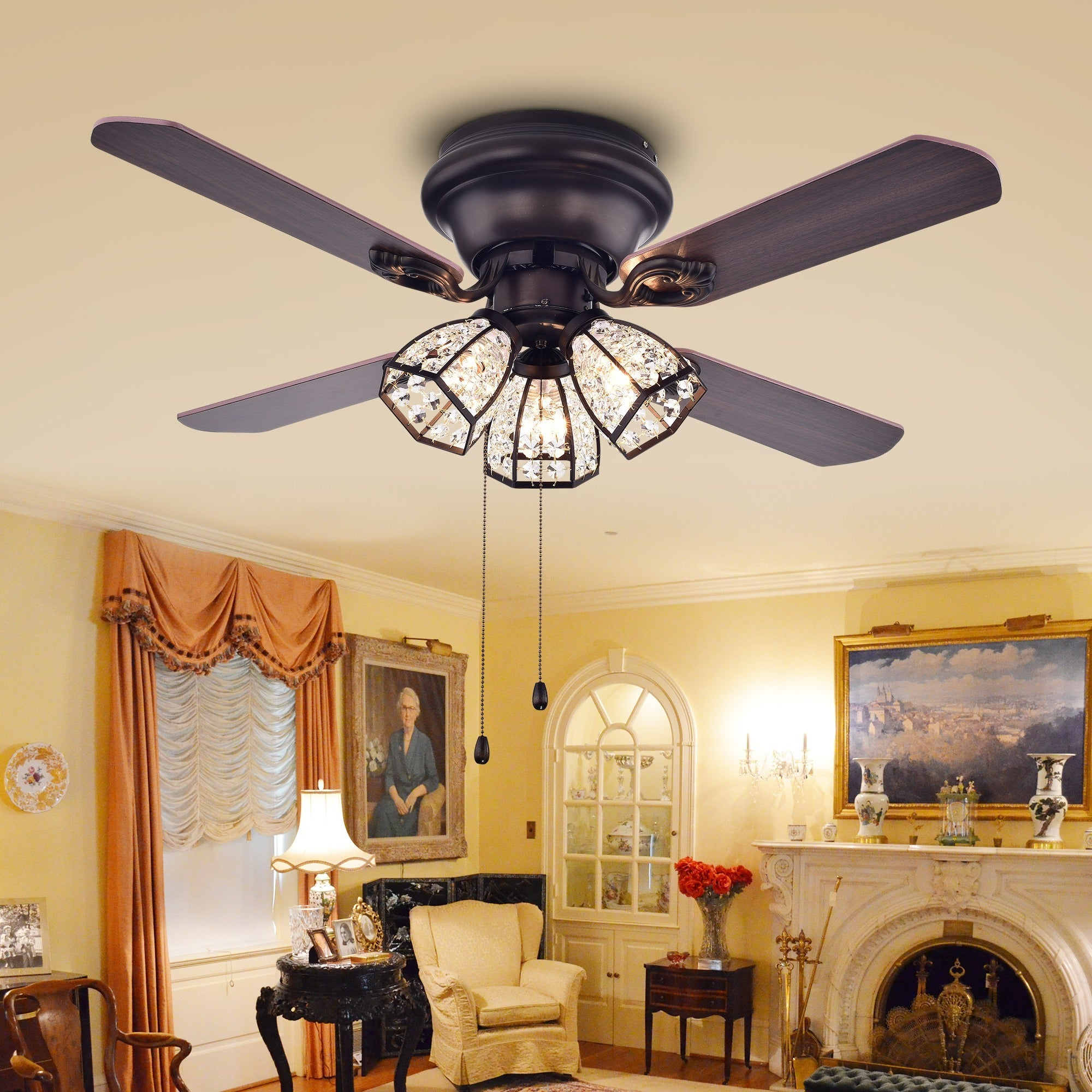 Warehouse Of Tiffany Tarudor 3 Light Crystal Dark Wood 4 Blade 42 Inch Ceiling  Fan With Antique Bronze Brass Housing   Free Shipping Today   Overstock    ...