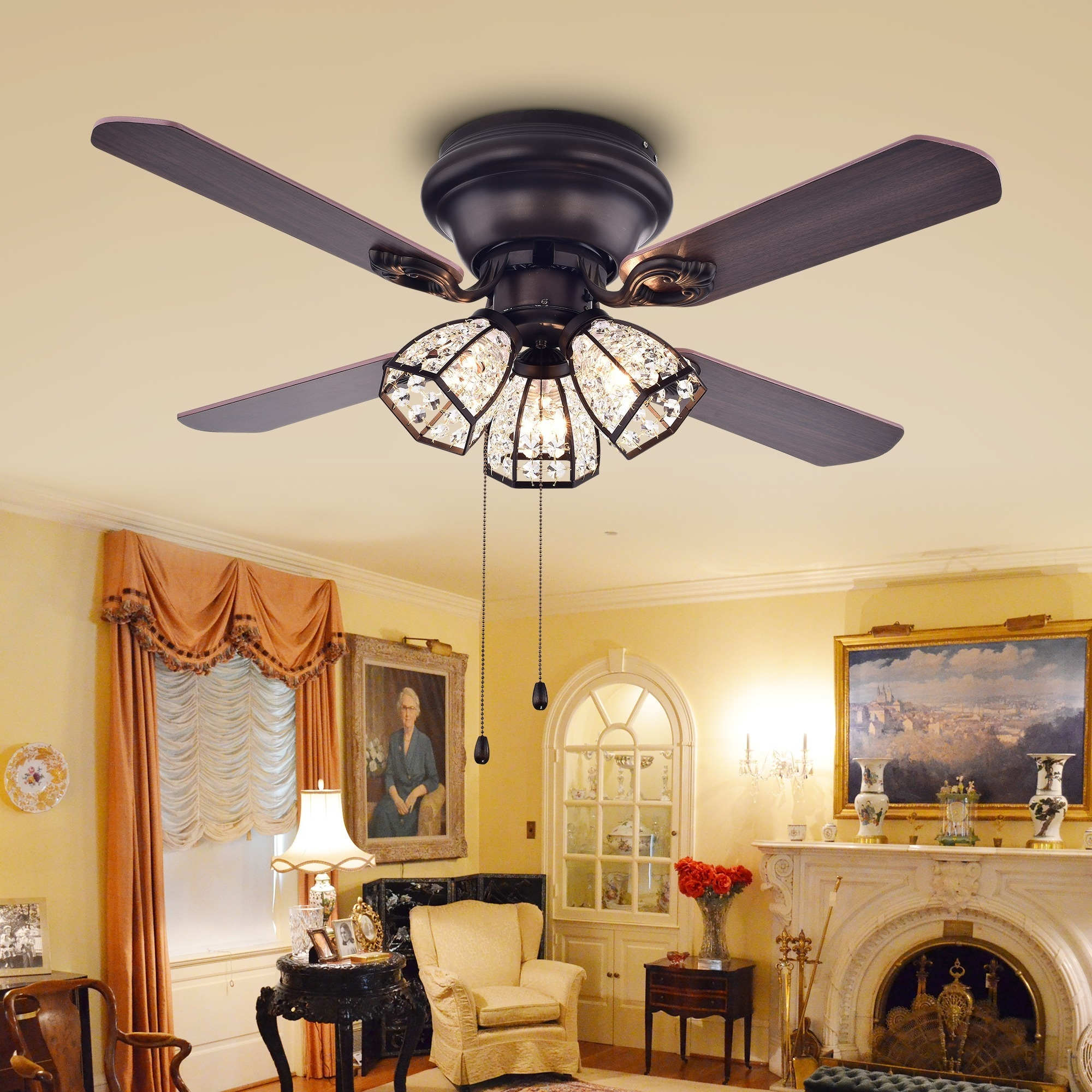 42 inch ceiling fan with remote led ceiling shop tarudor 3light crystal 4blade dark wood with antique bronze housing 52inch ceiling fan optional remote on sale free shipping today