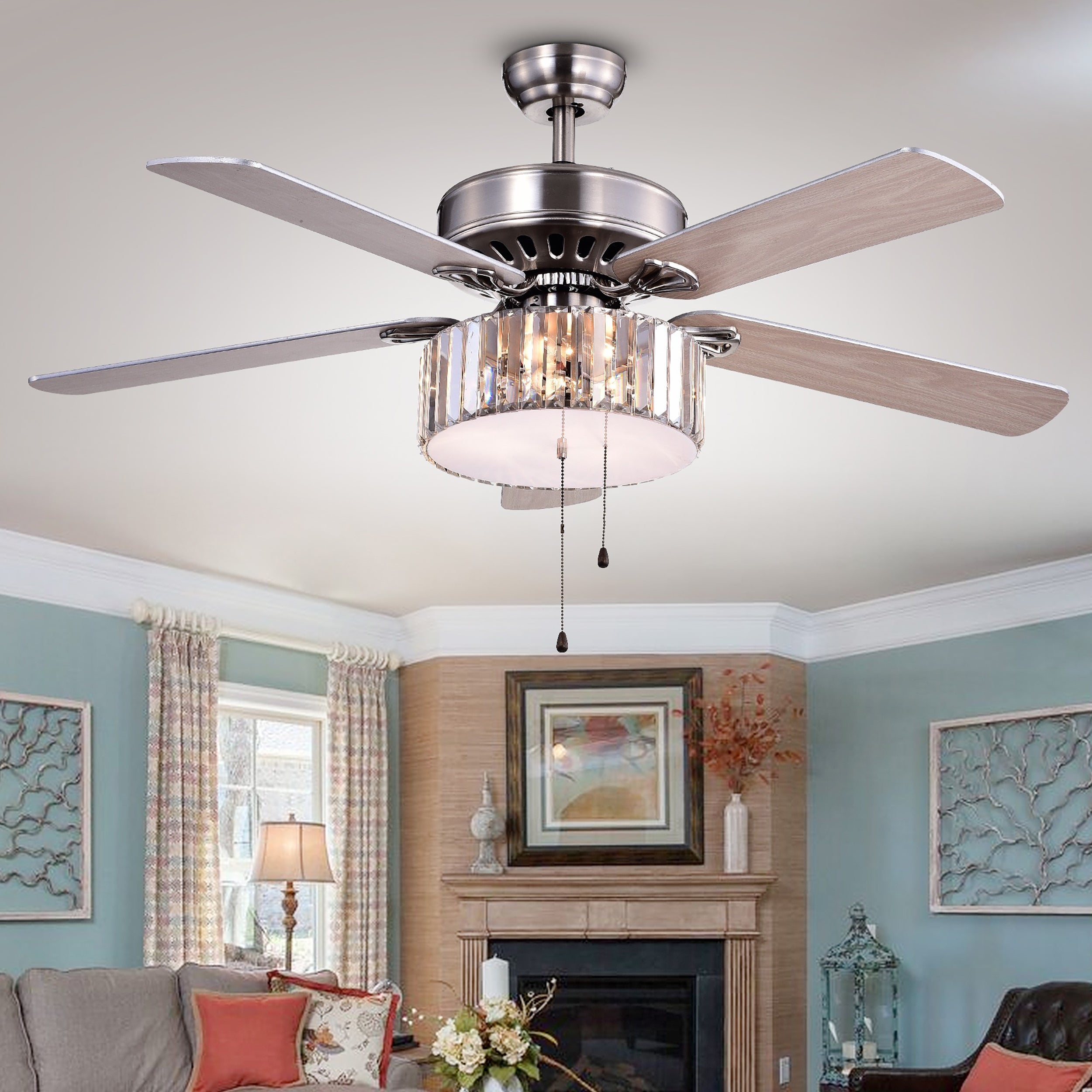 Kimalex 3 light 5 blade Wood Nickel Crystal 52 inch Ceiling Fan