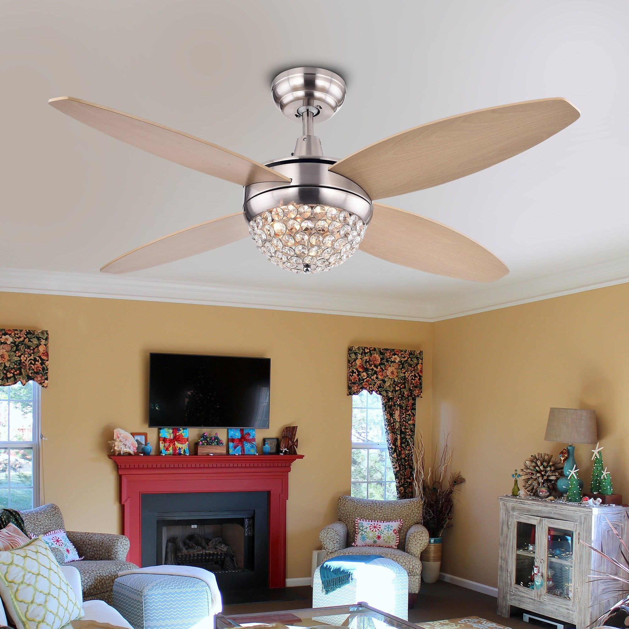 Balavis wood nickel crystal 2 light 4 blade 46 inch ceiling fan with balavis wood nickel crystal 2 light 4 blade 46 inch ceiling fan with remote free shipping today overstock 20843357 arubaitofo Choice Image