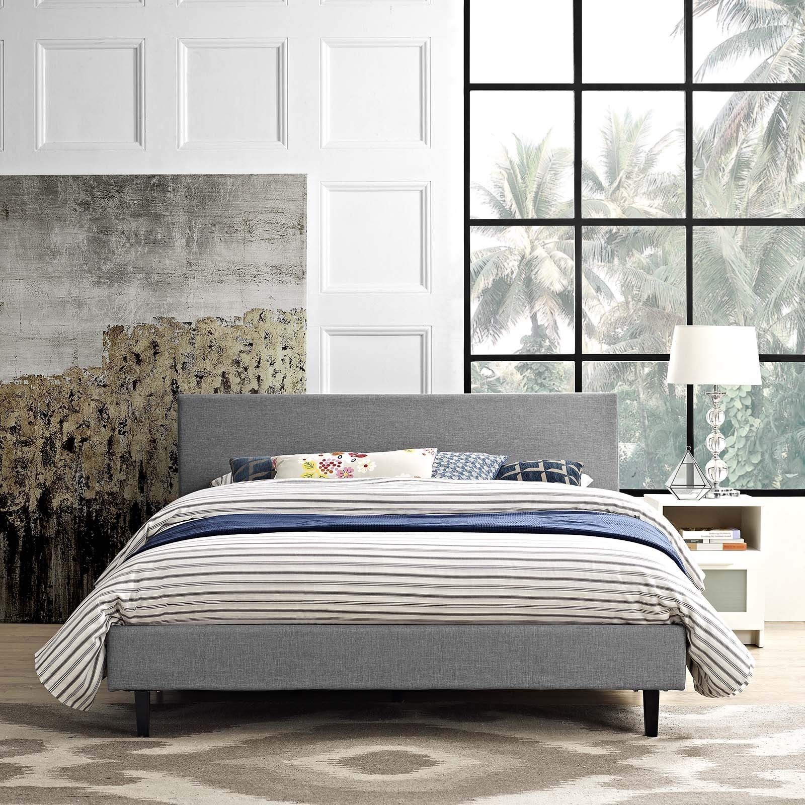 Shop Anya Fabric Full Size Platform Bed   Free Shipping Today    Overstock.com   14256036