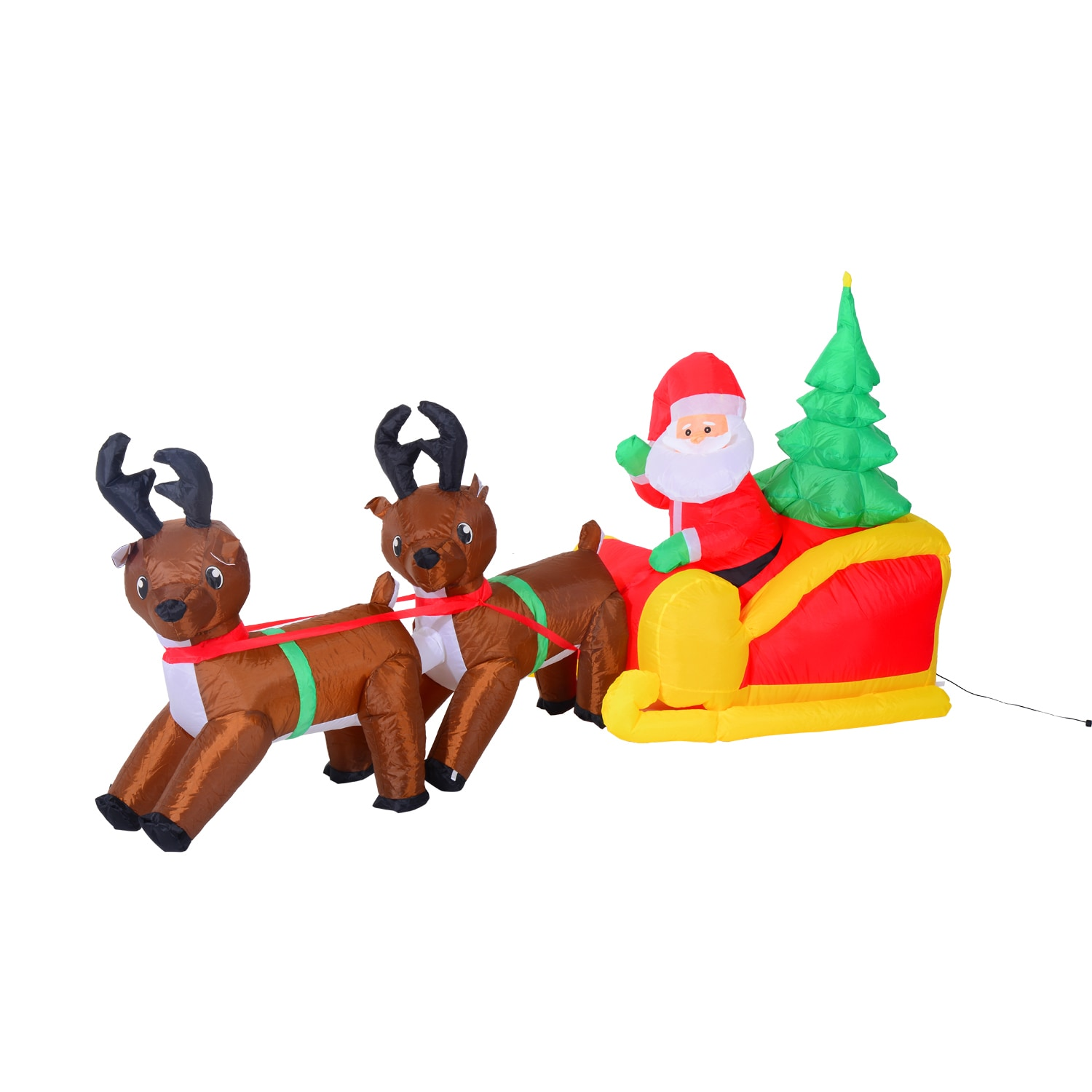 7 Foot Inflatable Led Lit Christmas Santa And Reindeer Lawn Decoration