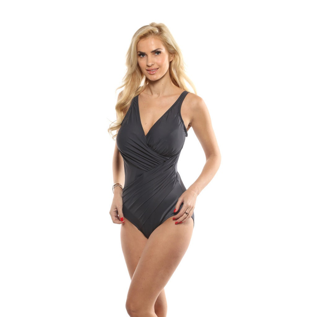 ec7b64988b1 Shop Miraclesuit Charcoal Black Oceanus One Piece Swimsuit - Ships To  Canada - Overstock - 14256299