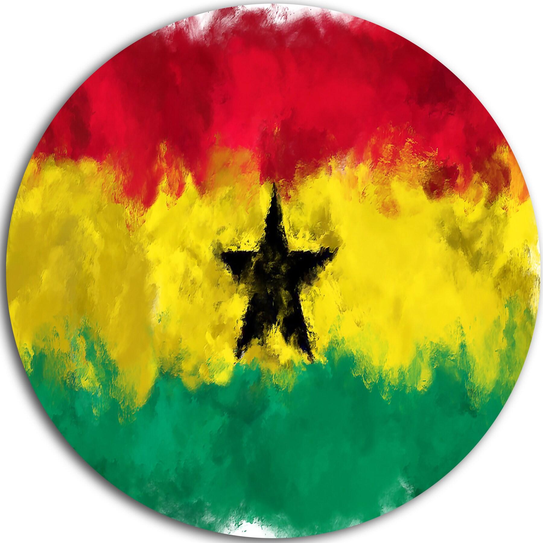 Designart \'Ghana Flag Illustration\' Flag Painting Large Disc Metal ...